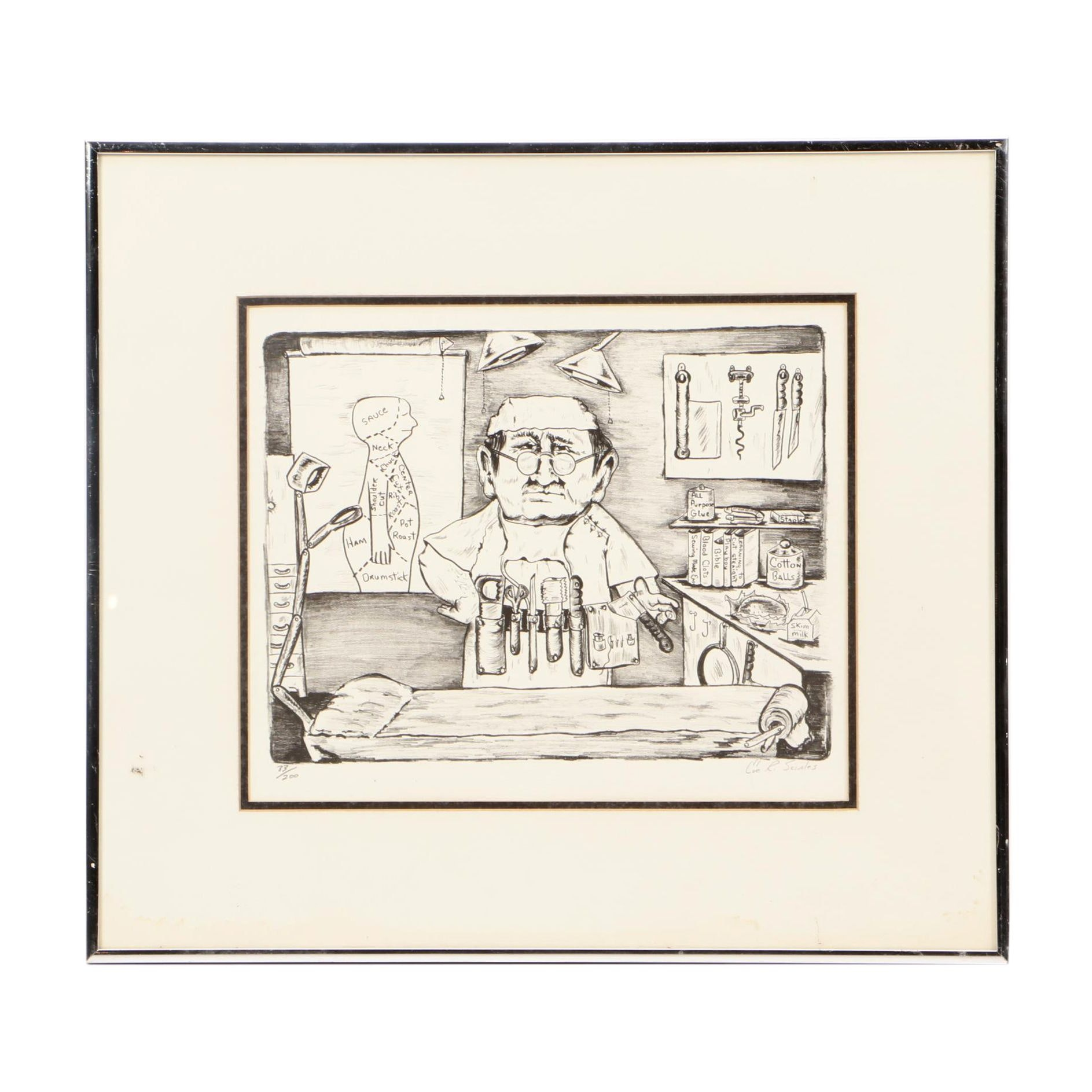 "Eve Sciales Limited Edition Lithograph ""Urologist"""