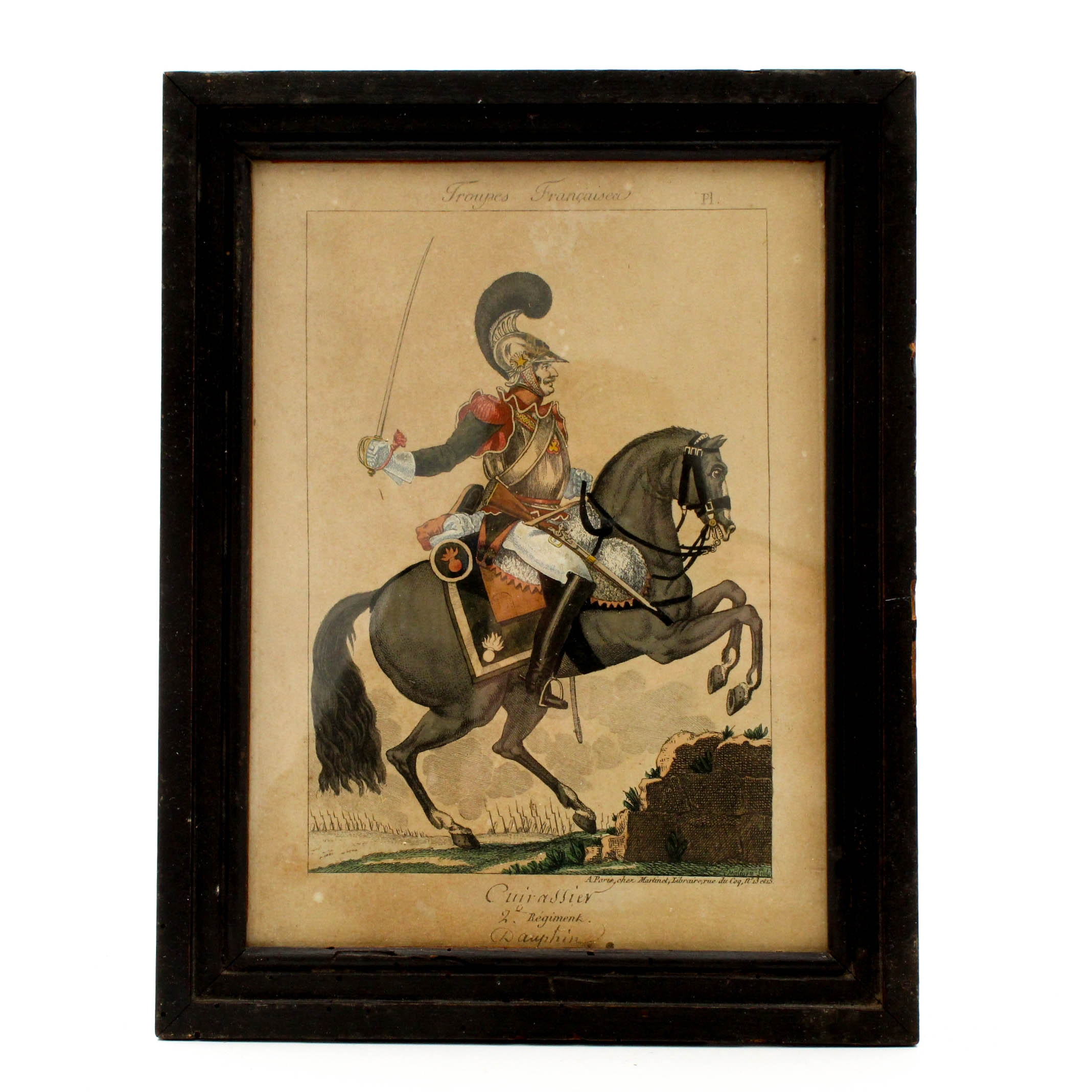 "Hand Colored Etching ""French Troops, Calvary Soldier"""