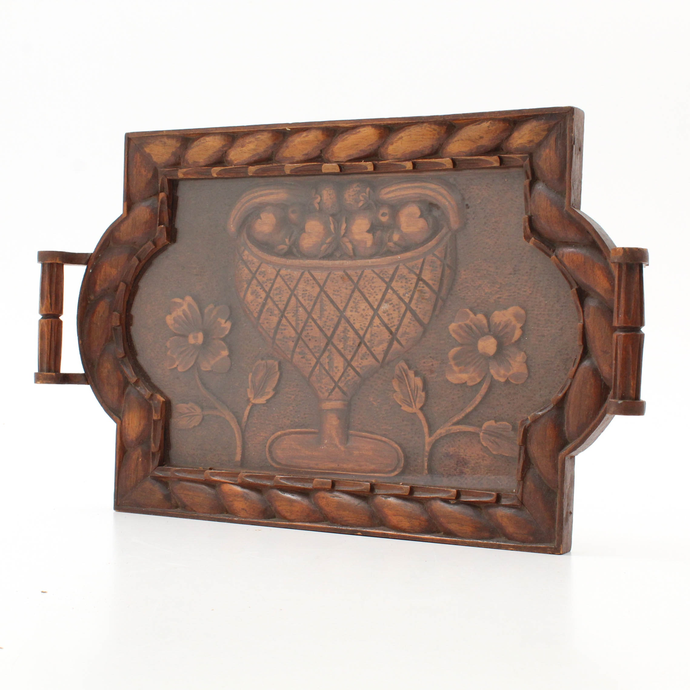Spanish Colonial Style Carved Wooden Tray