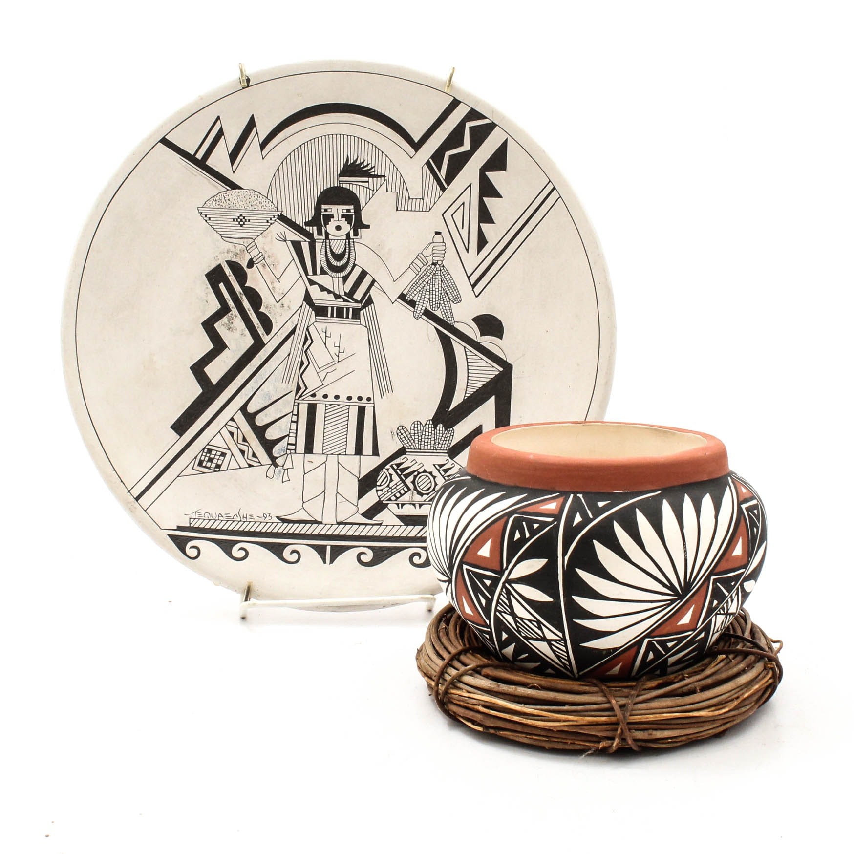 Native American A. Shroulot Hand-Painted Acoma Pot and Tequaecshe Plate