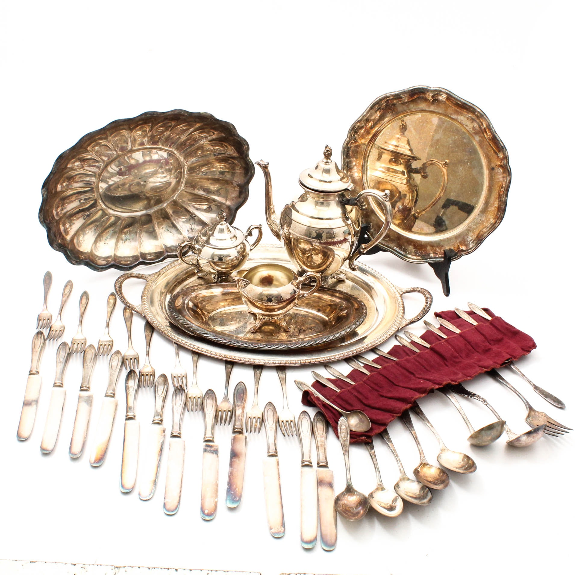 Silver Plate Dinnerware and Flatware Assortment Including Reed & Barton