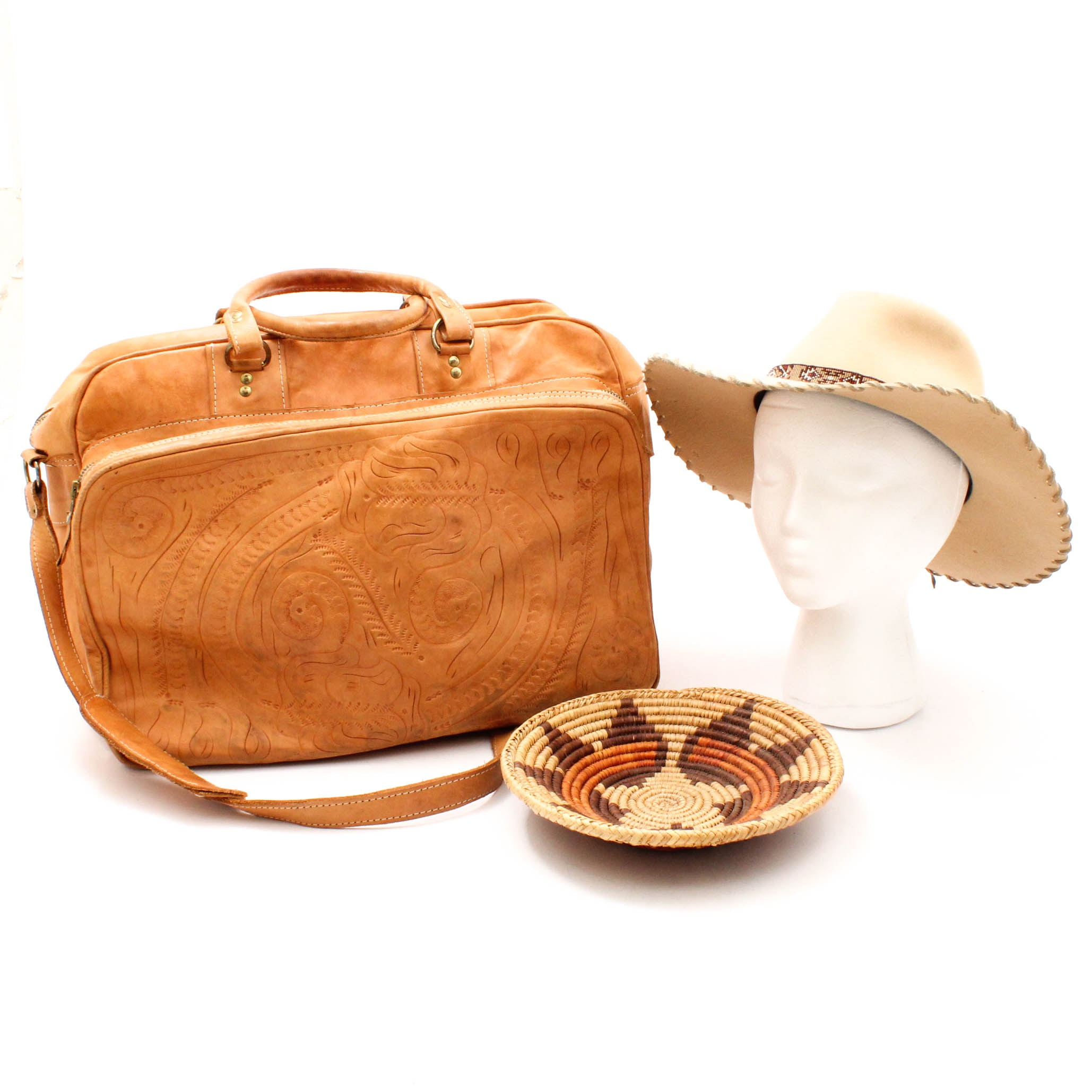 Southwestern-Style Beaded Hat Band, Tooled Leather Satchel and Woven Basket