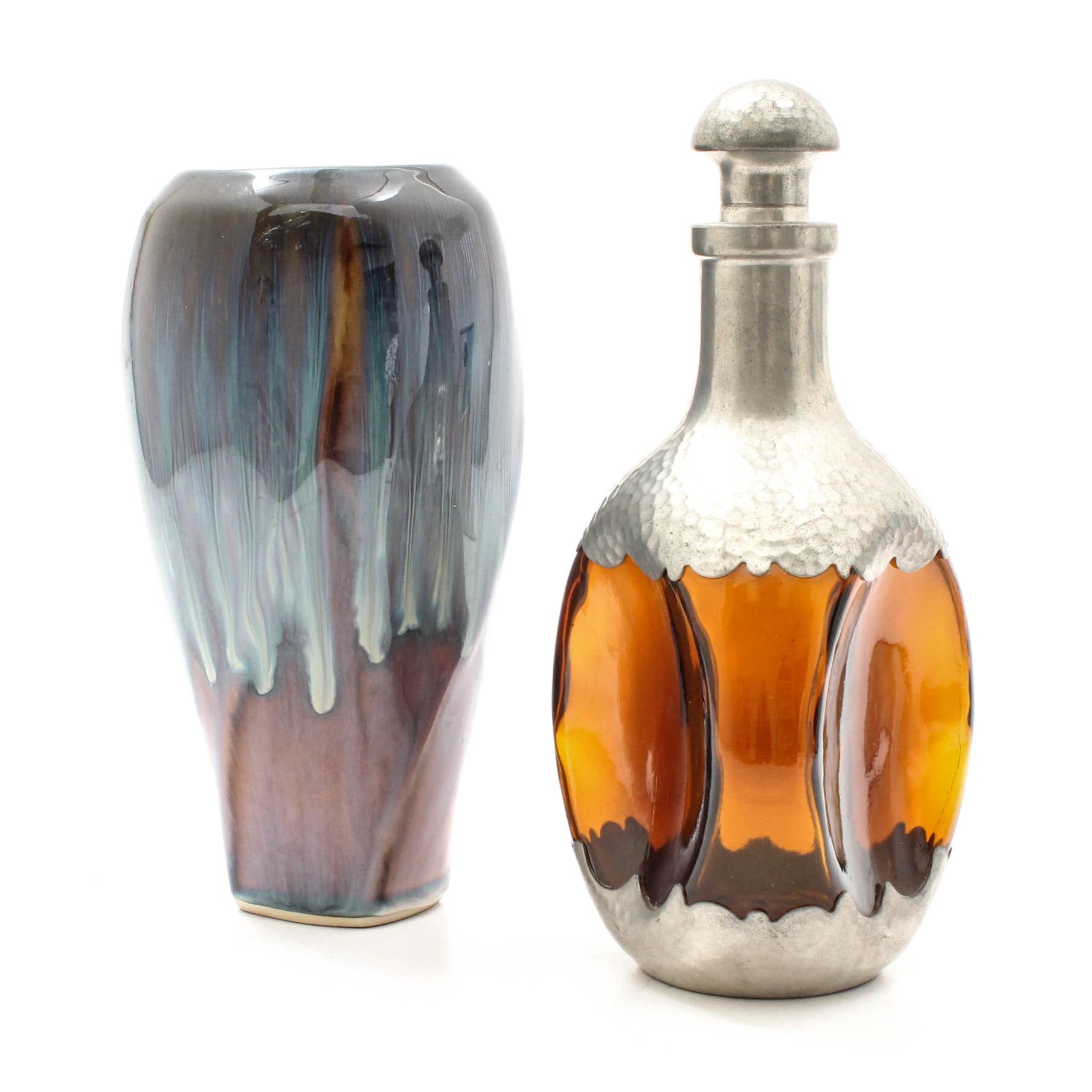 Royal Holland Daalderop Pewter Decanter and Artisan Vase
