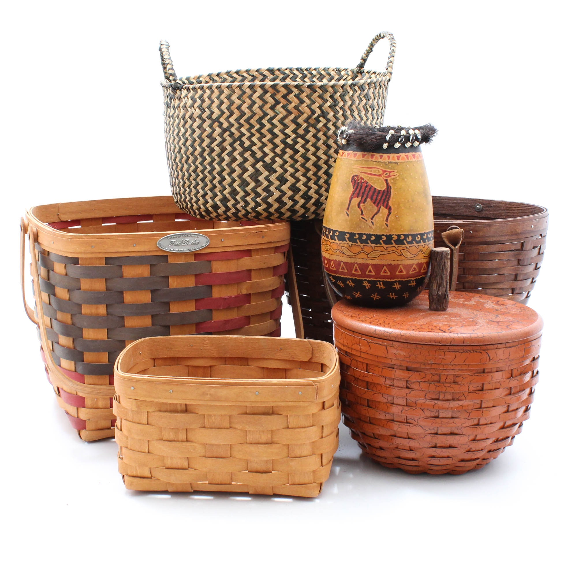 Decorative Baskets and Hand Painted Gourd