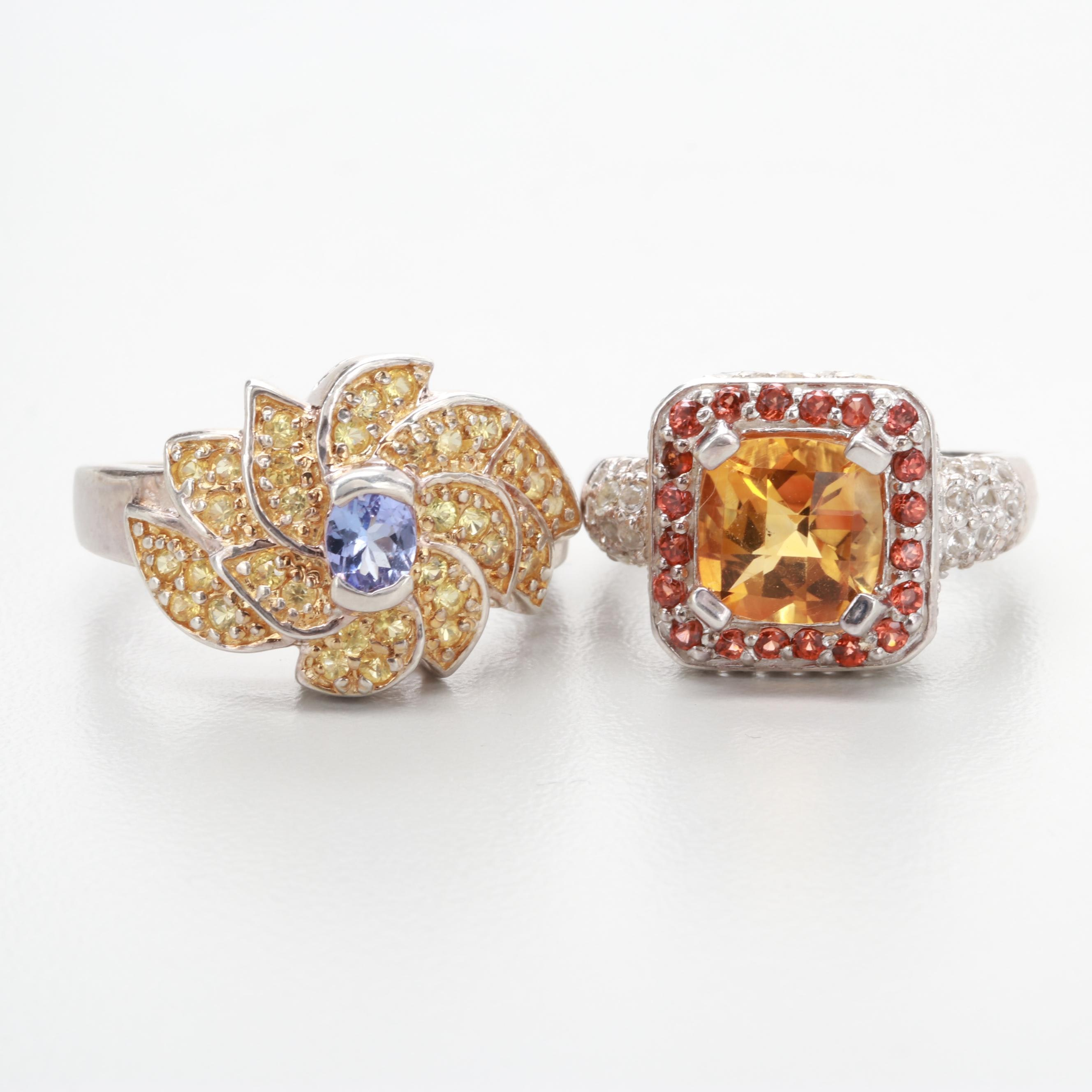 Sterling Ring Selection Including Citrine, Tanzanite, and Topaz