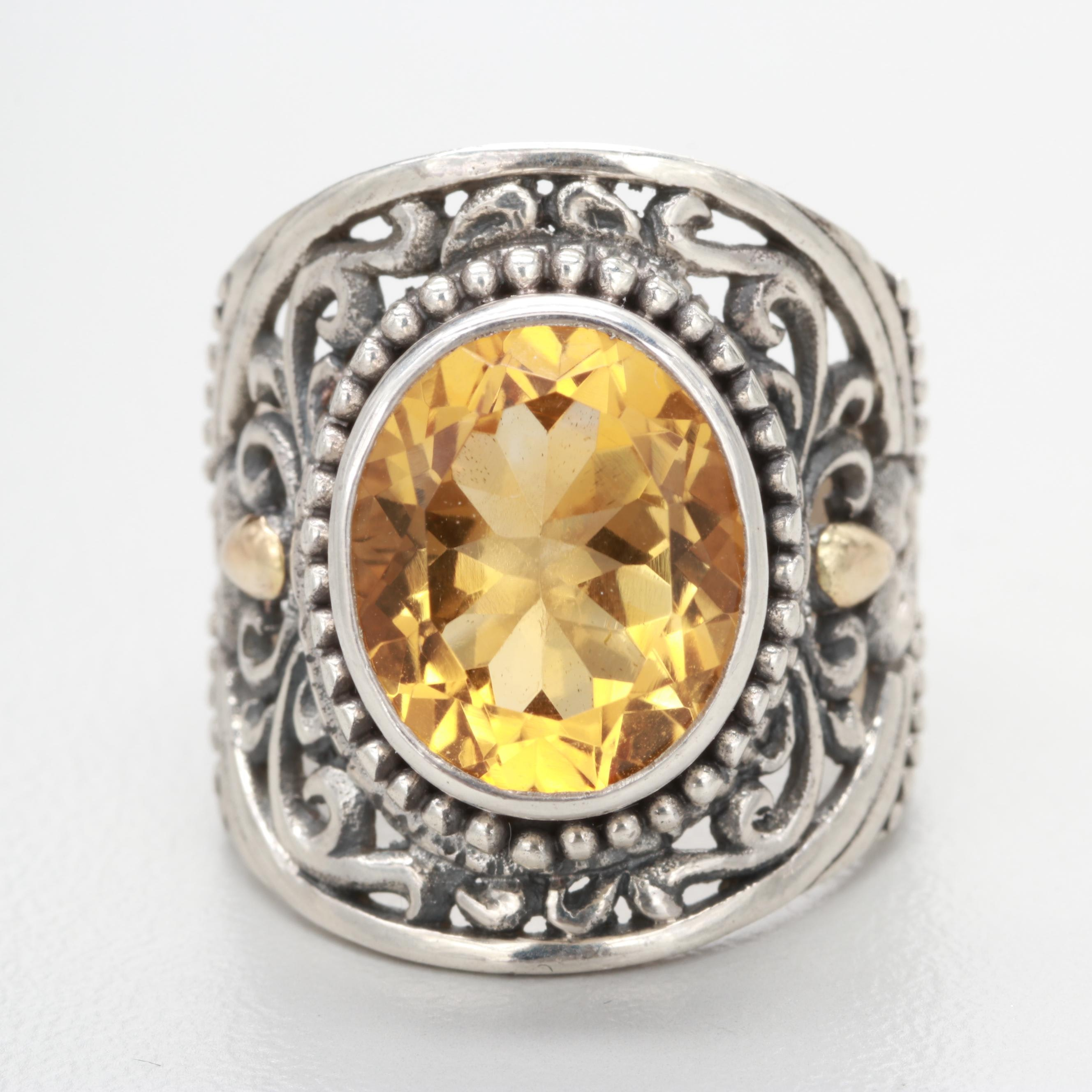 Robert Manse Sterling Silver Citrine Ring with 18K Yellow Gold Accents