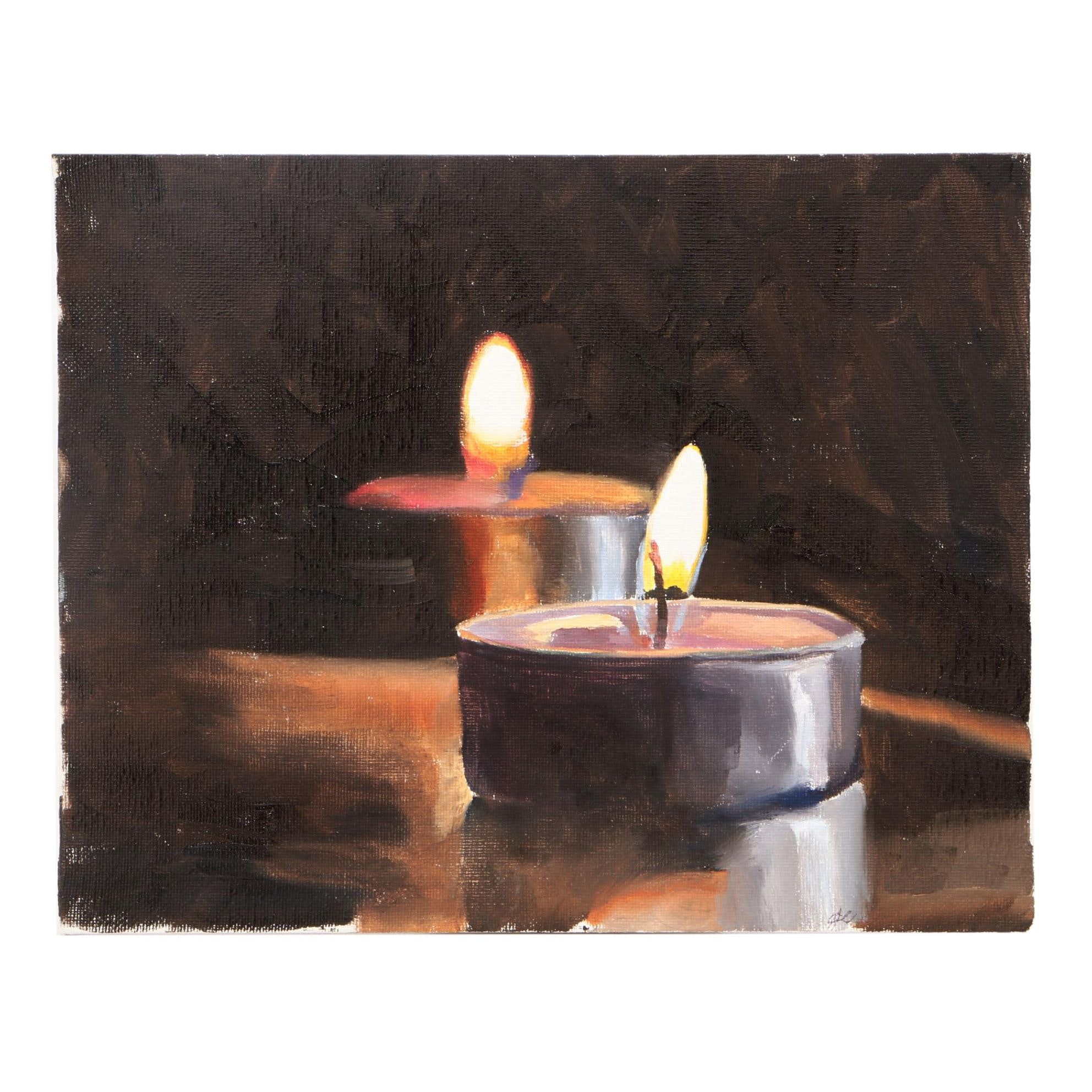 James Coates Oil Painting of Votive Candles