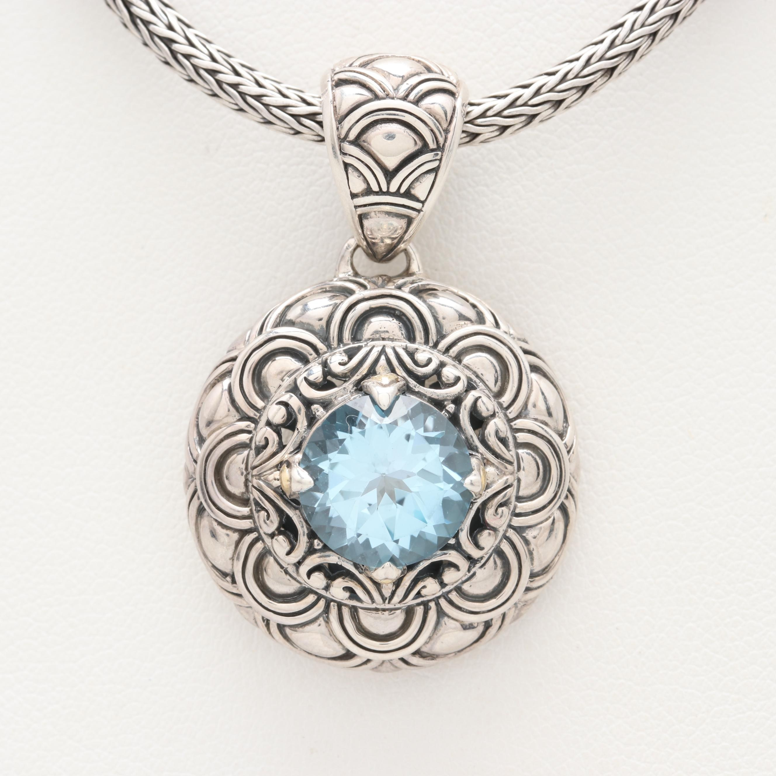 Robert Manse Sterling Silver Topaz Necklace with 18K Accents