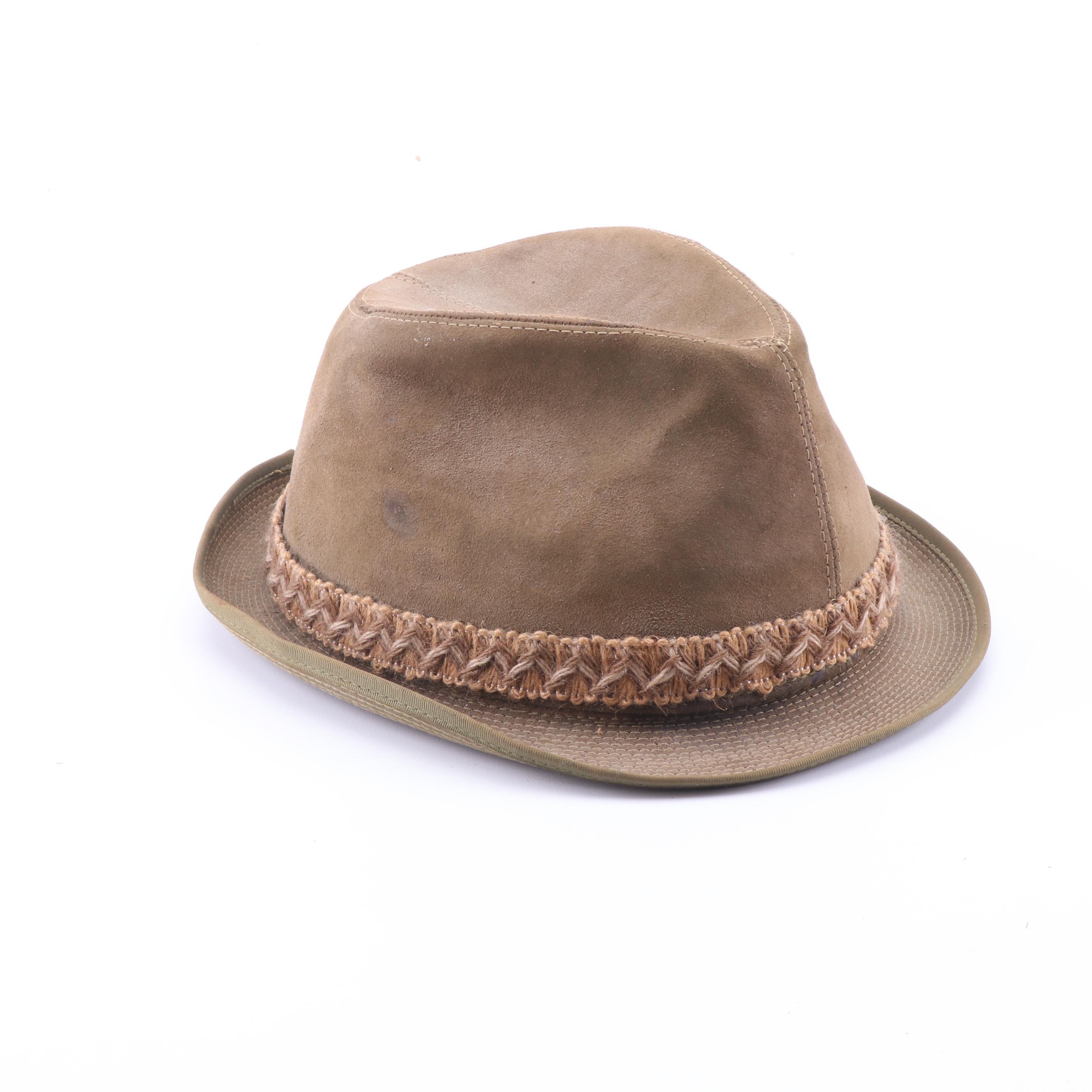 Men's Vintage Stetson Beige Suede Trilby Hat
