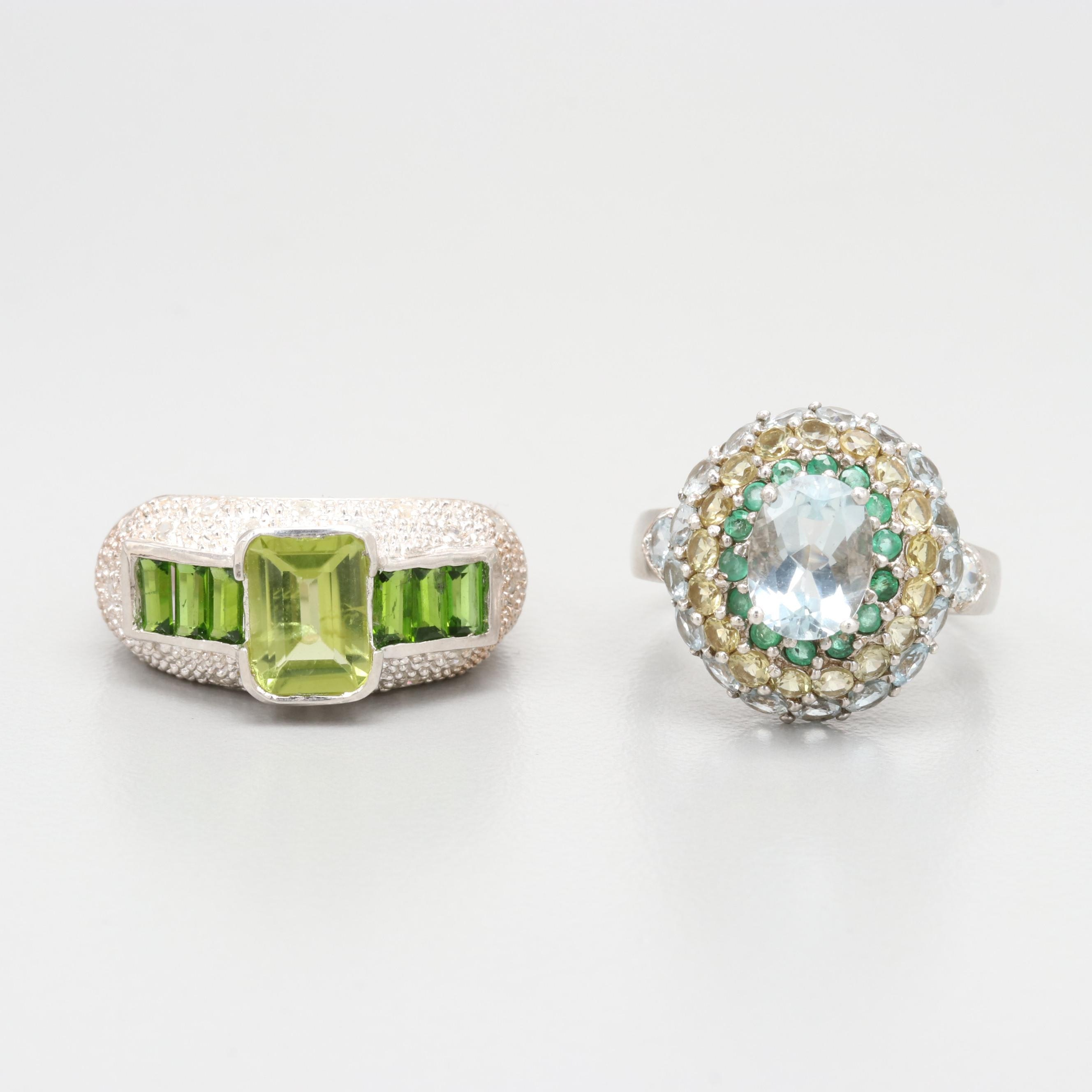 Sterling Silver Ring Selection Including Chrome Diopside, Emerald and Aquamarine