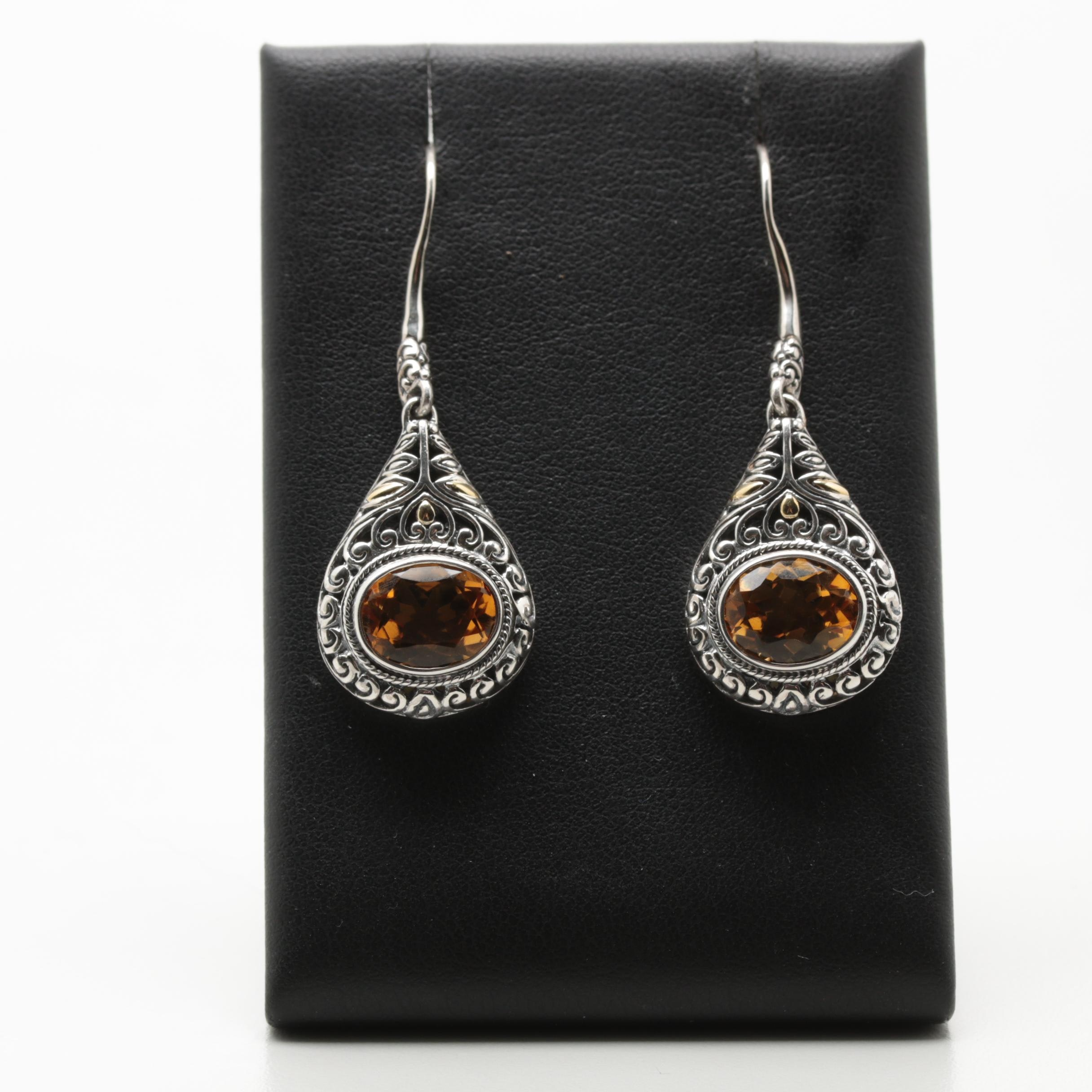 Robert Manse Sterling Silver Citrine Earrings with 18K Yellow Gold Accents