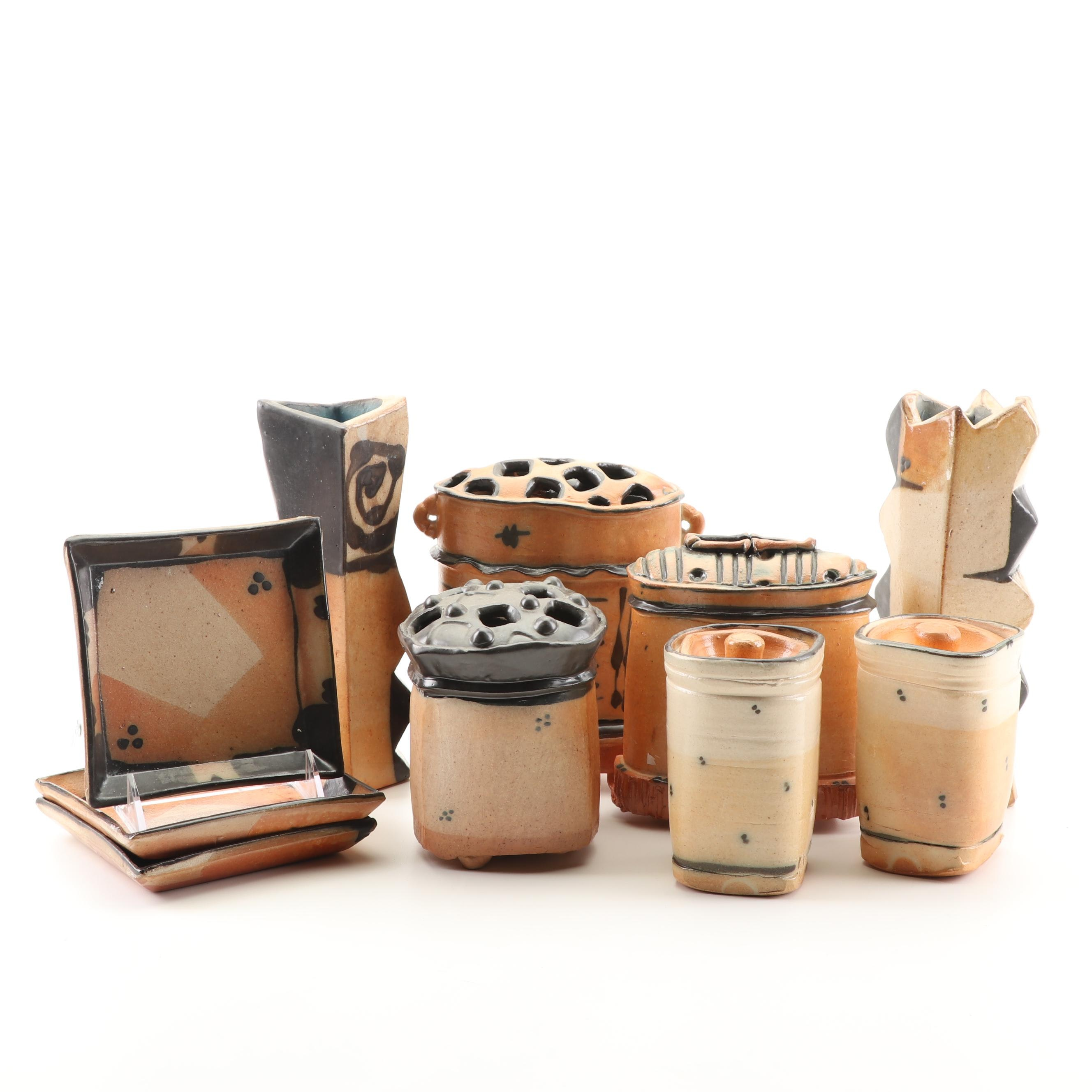 Terry Gess Wheel Thrown And Handbuilt Stoneware Tableware and Covered Canisters
