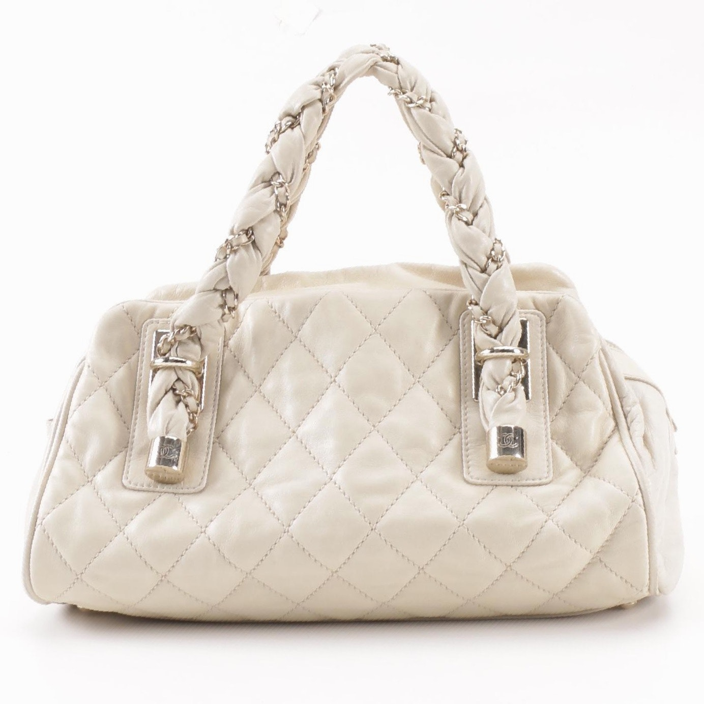 Circa 2006 Chanel Quilted Cream Lambskin Lady Braid Satchel