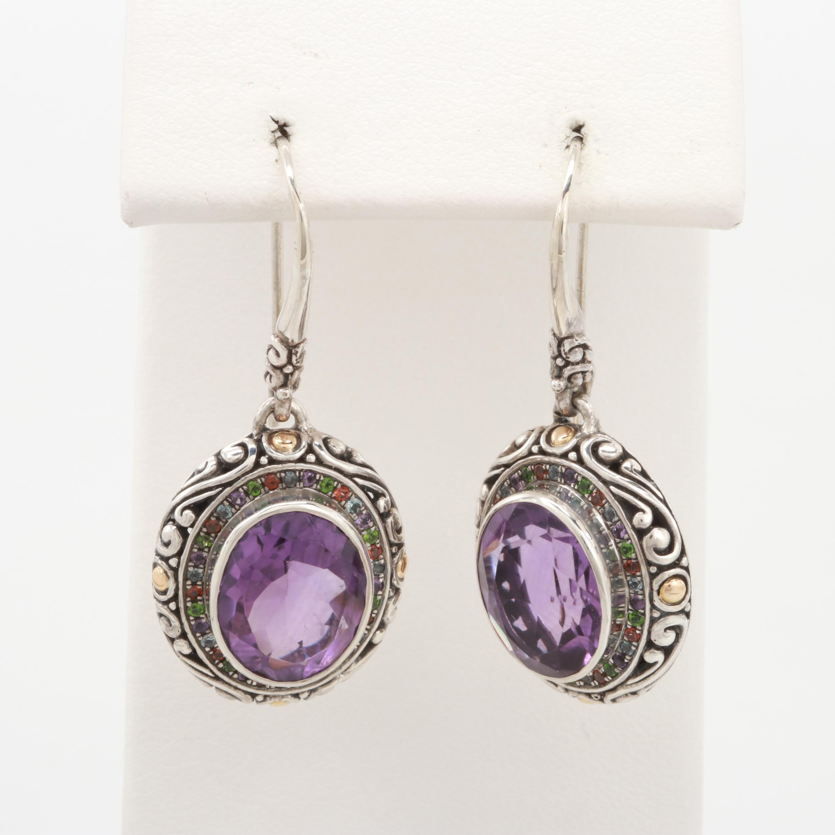 Robert Manse Sterling Amethyst and Gemstone Earrings with 18K Yellow Gold Accent