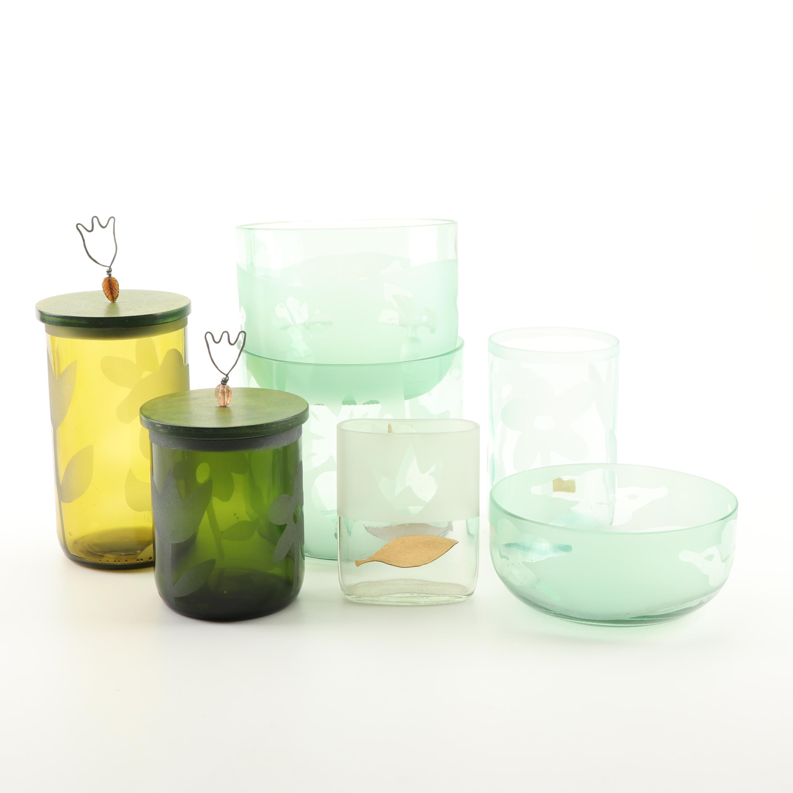 Glass Vases and Canister Set