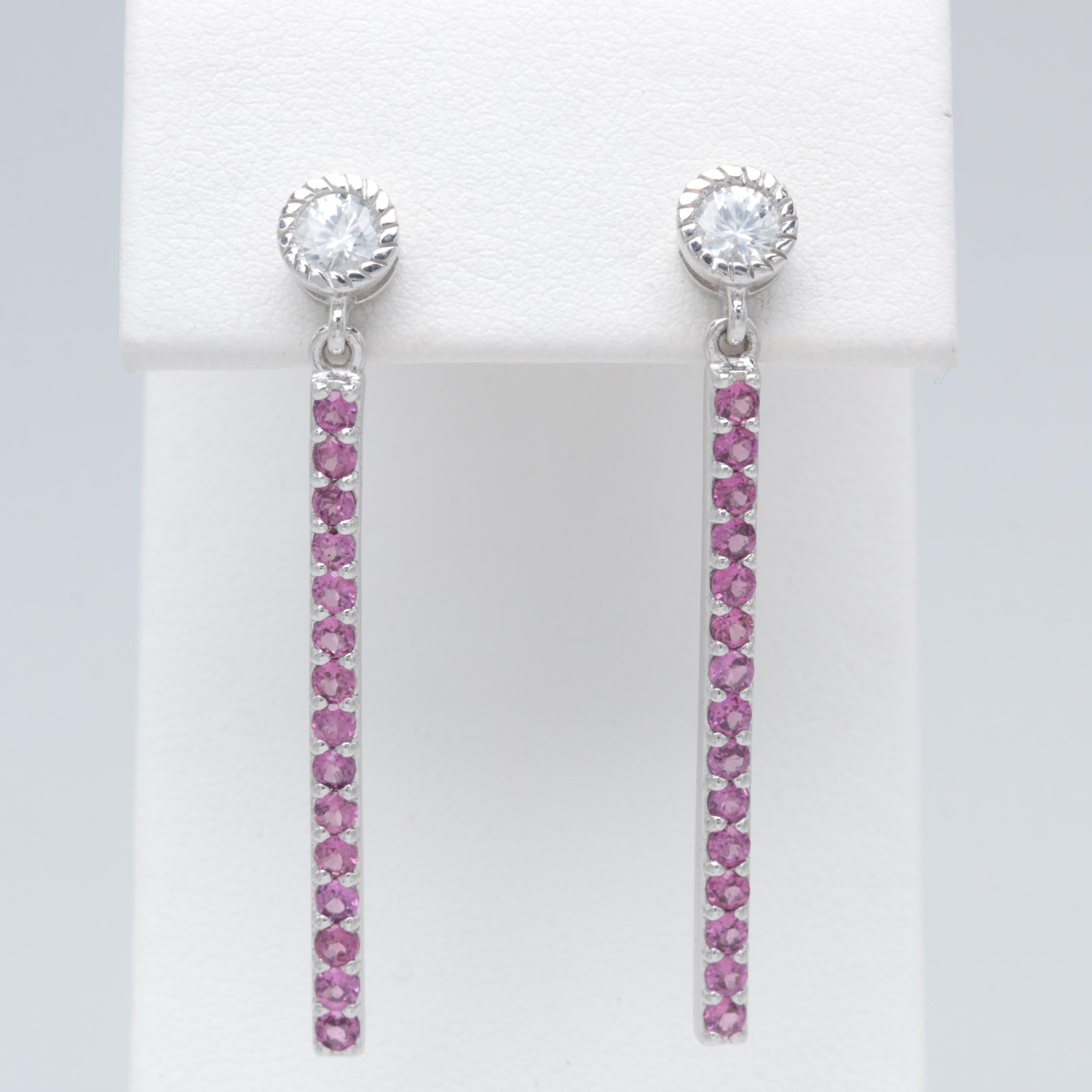 Robert Manse Sterling Silver Garnet and Zircon Dangle Earrings