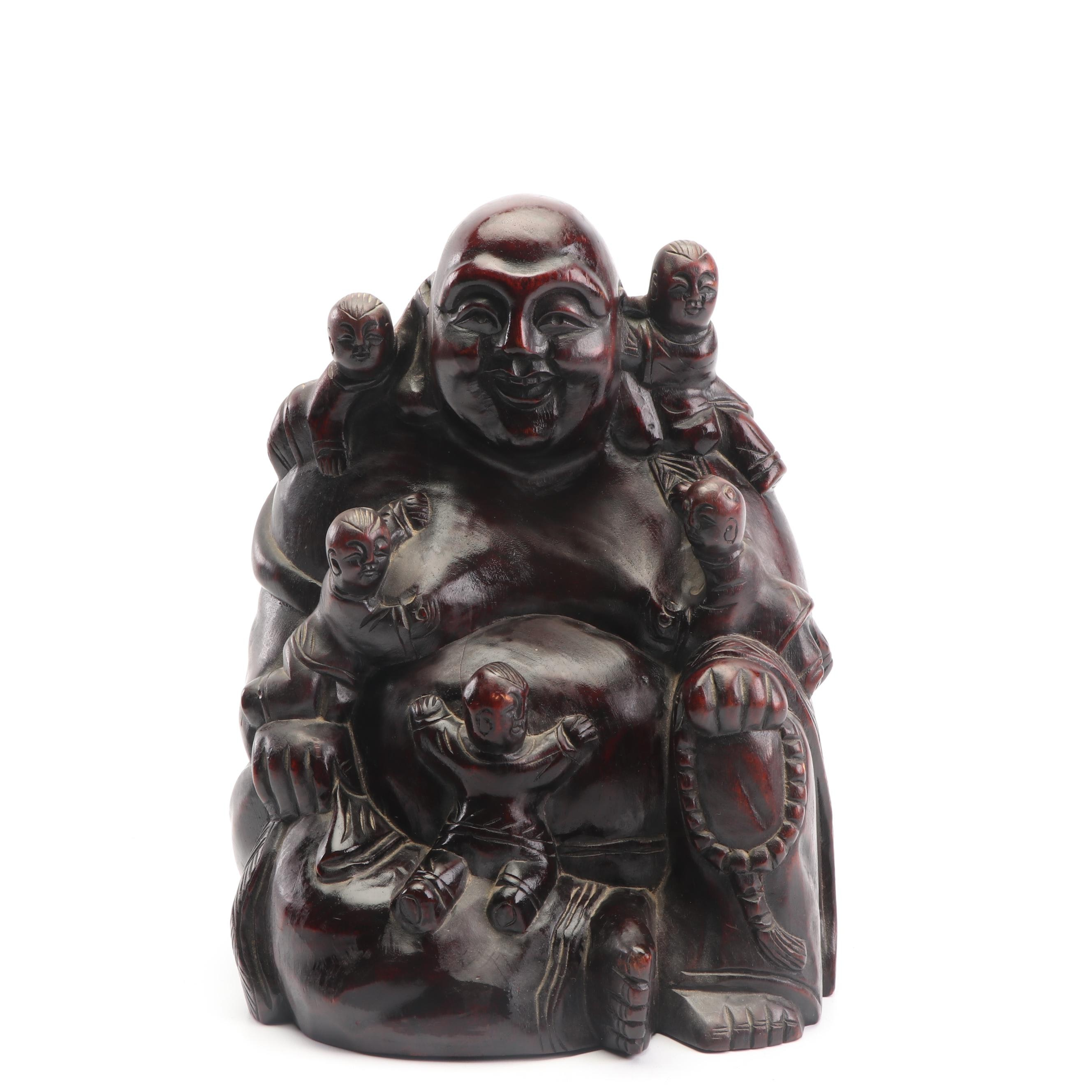 Chinese Carved Wood Budai with Children Sculpture