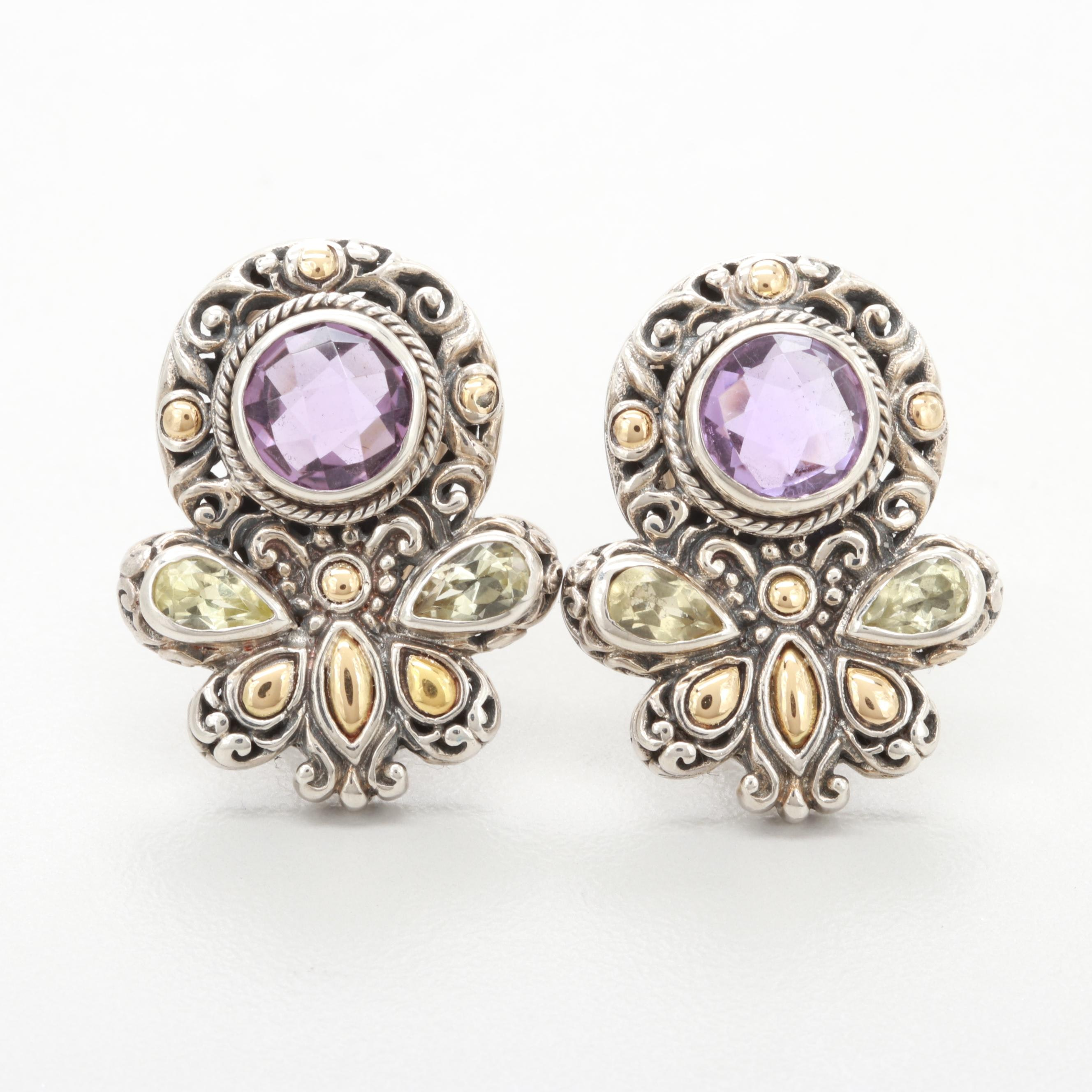 Robert Manse Sterling Amethyst and Praseoline Earrings with 18K Gold Accents