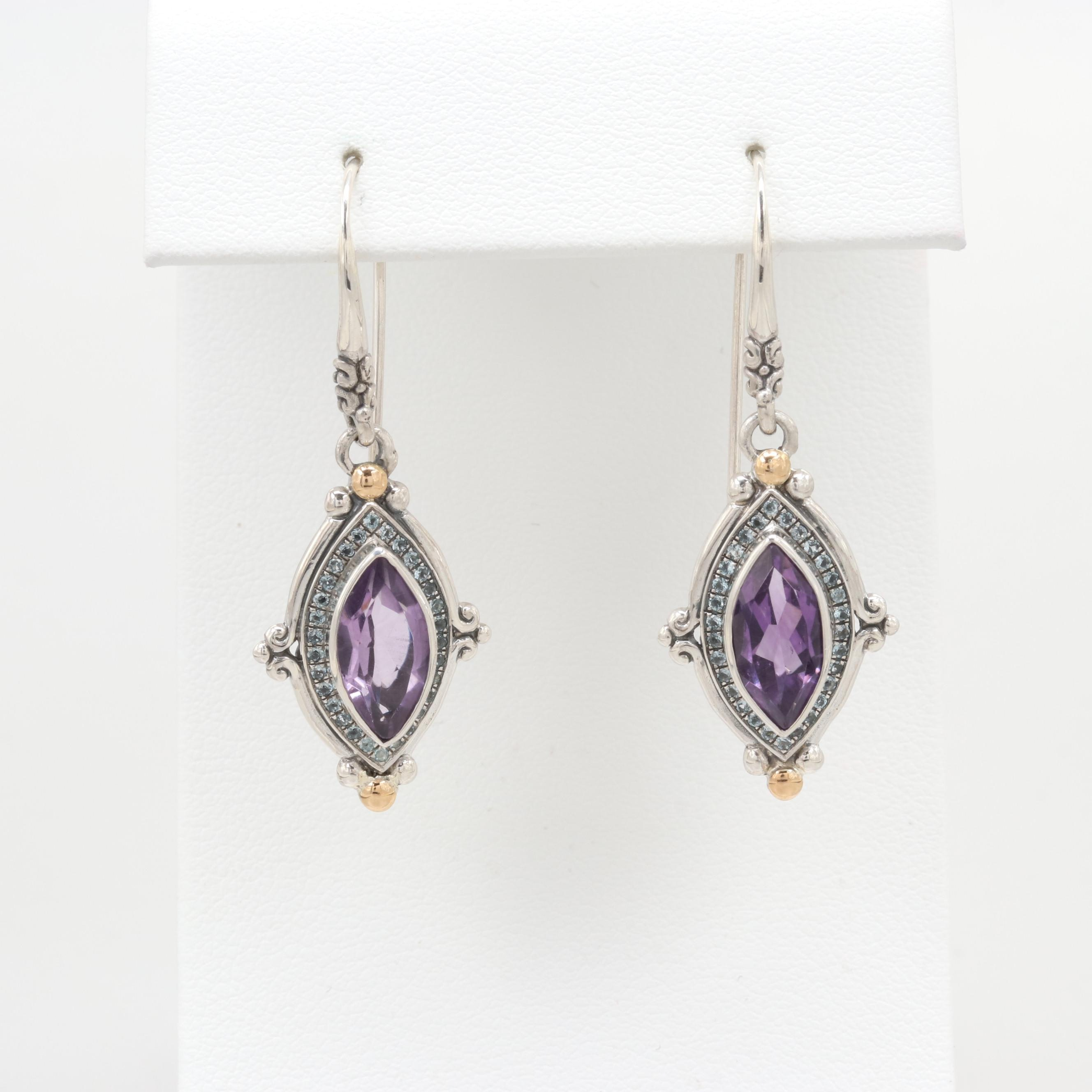 Robert Manse Sterling Amethyst and Topaz Earrings with 18K Gold Accents