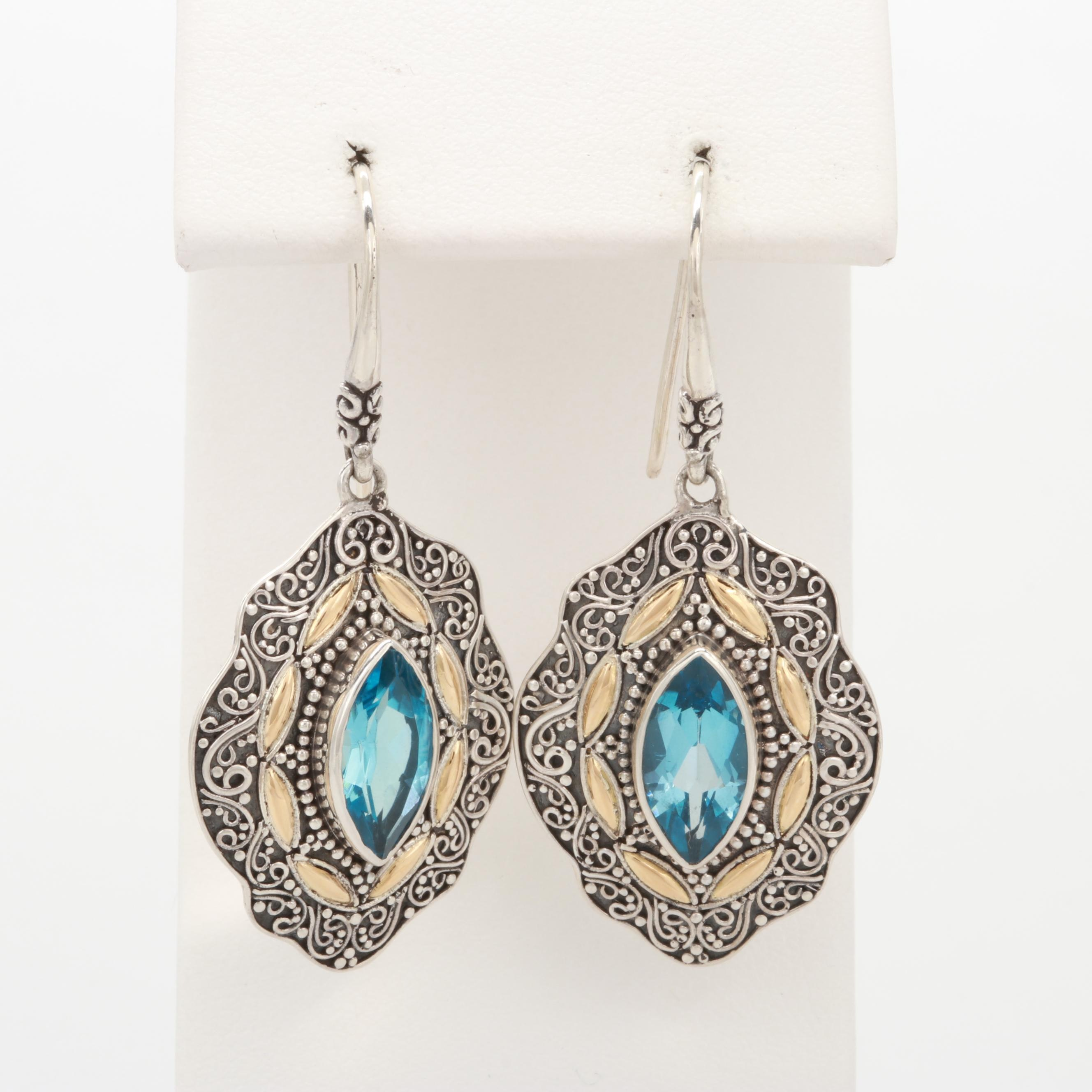 Robert Manse Sterling Silver Blue Topaz Earrings with 18K Yellow Gold Accents