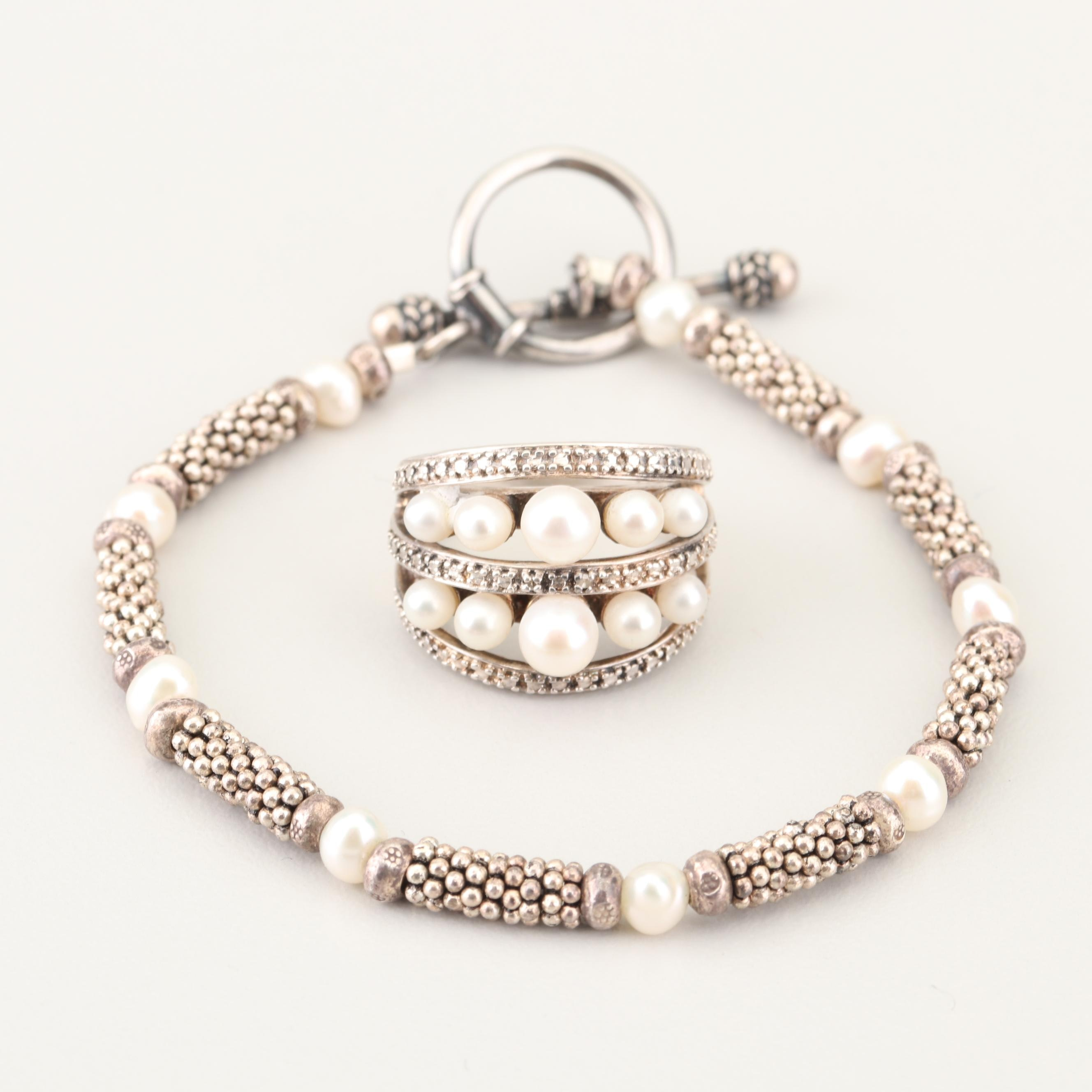 Sterling Silver Freshwater Pearl Bracelet and Cultured Pearl Ring
