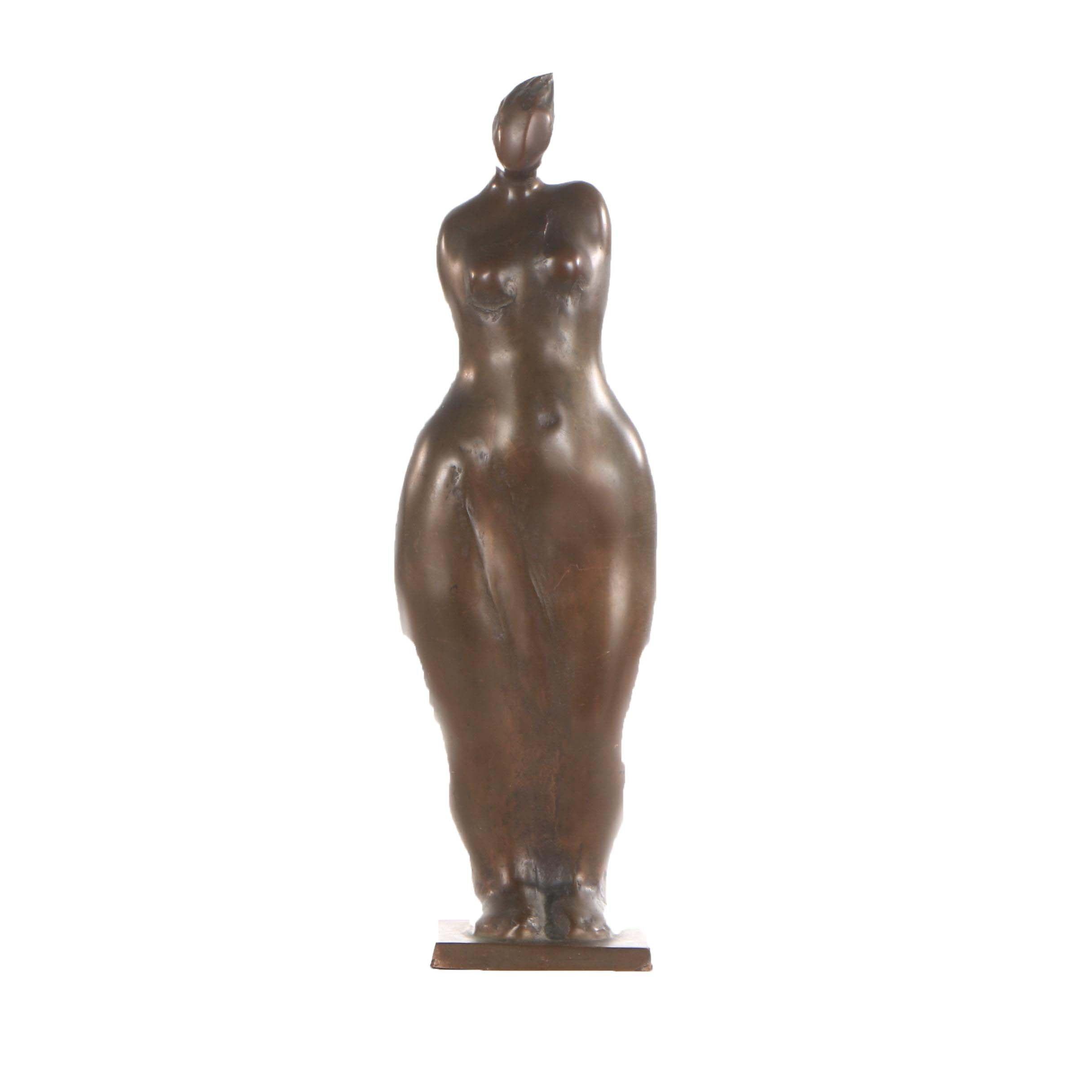 Figural Female Bronze Sculpture