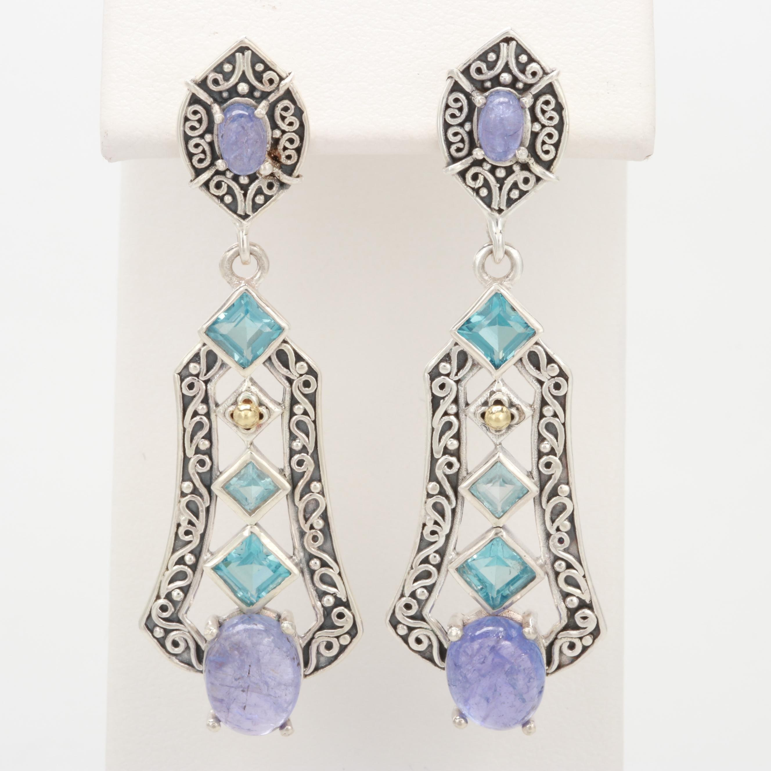 Robert Manse Sterling Silver Topaz and Tanzanite Earrings with 18K Yellow Gold