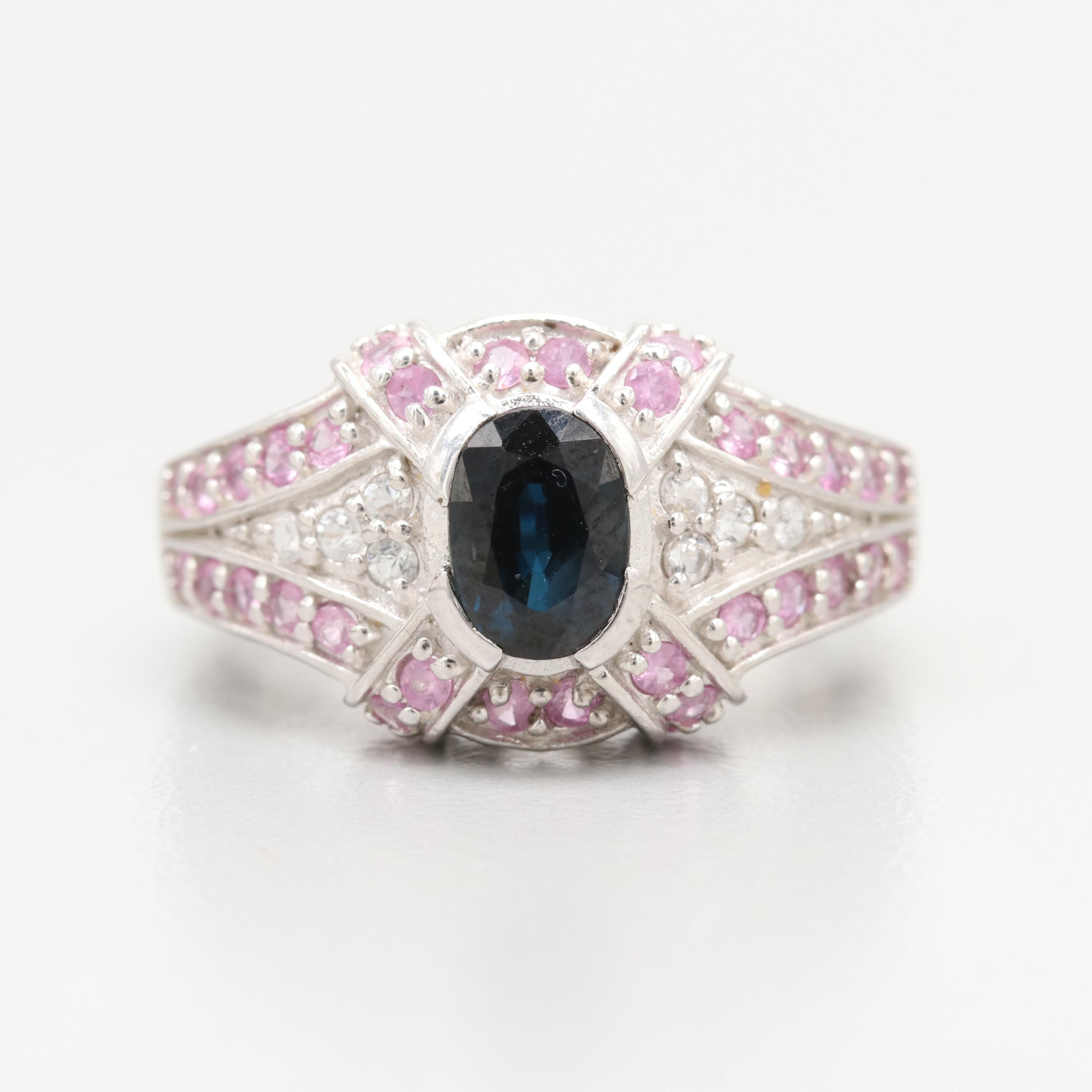 Sterling Silver Blue, Pink and White Sapphire Ring