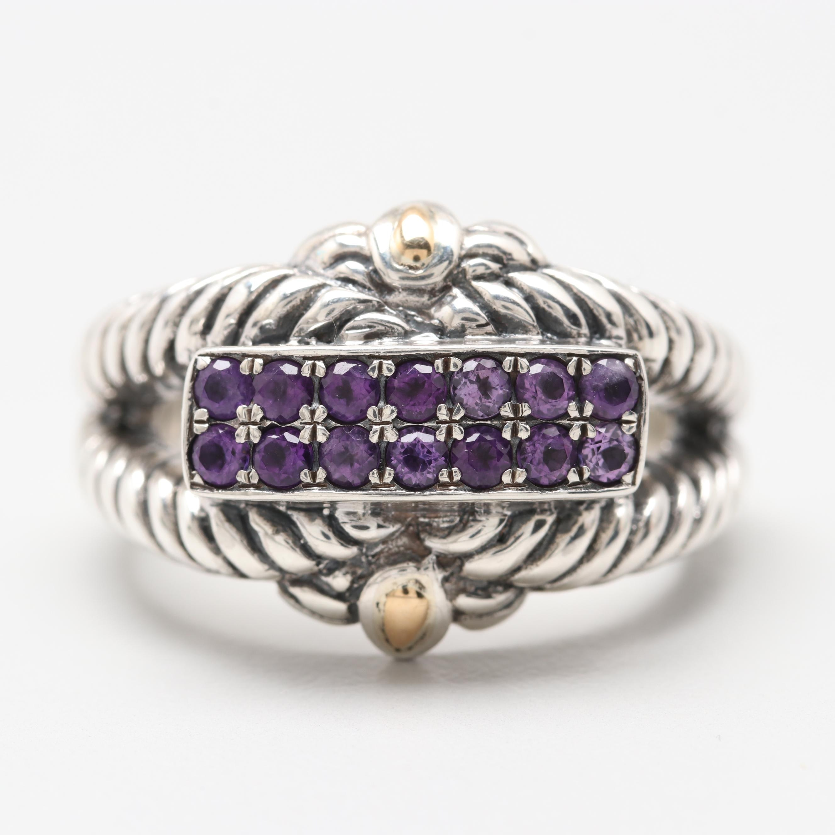 Robert Manse Sterling Silver Amethyst Ring with 18K Accents
