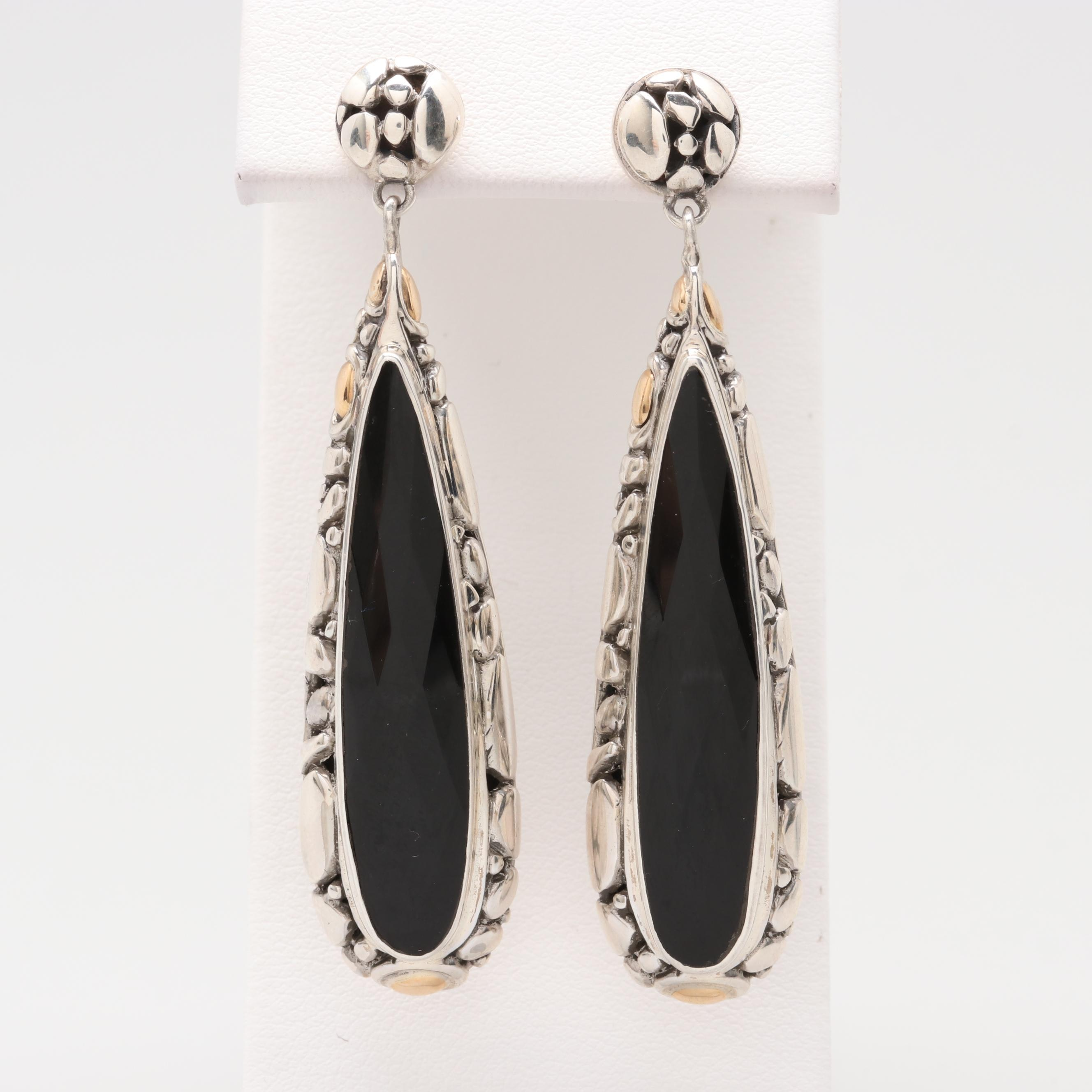 Robert Manse Sterling Silver Black Onyx Earrings with 18K Accents