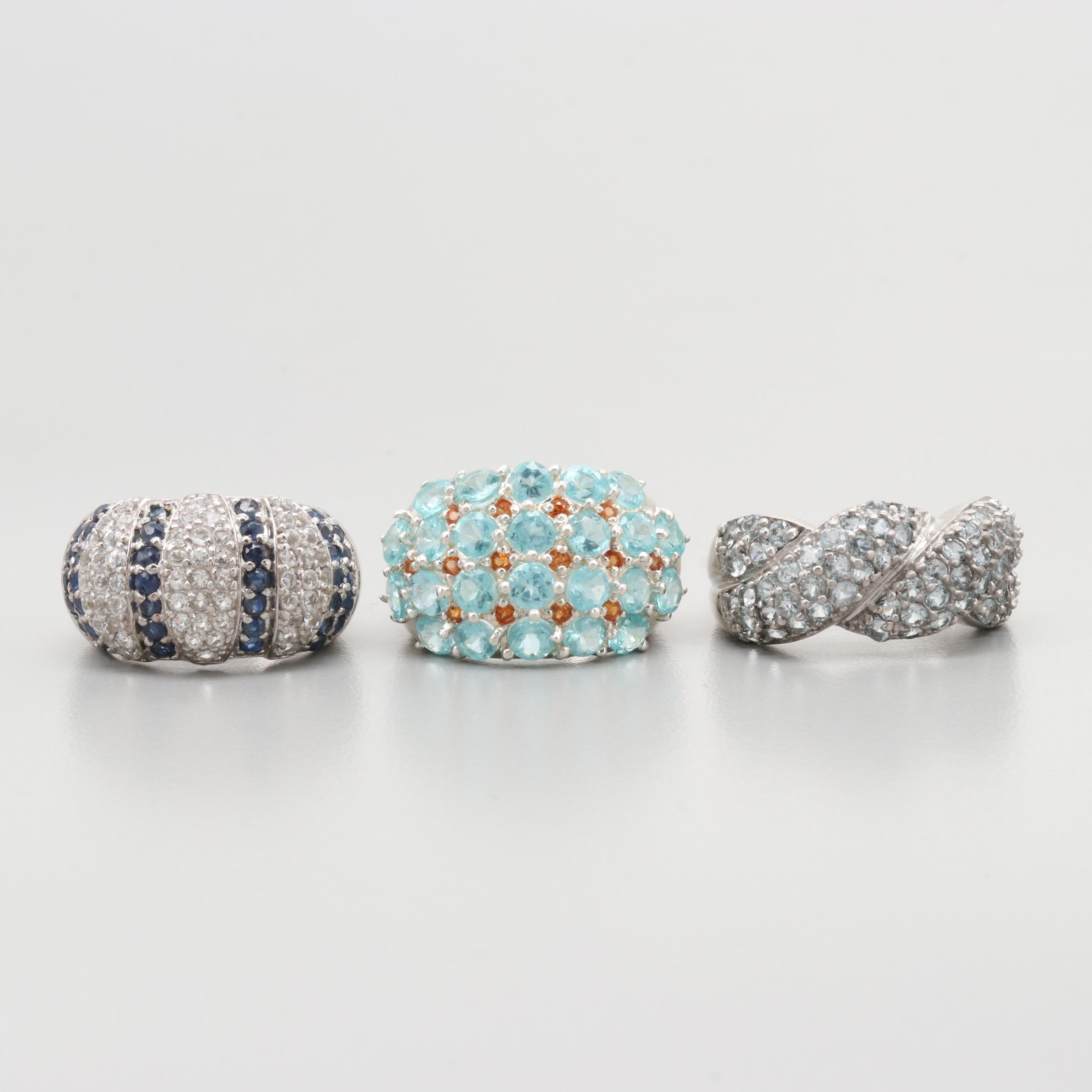 Sterling Silver Ring Assortment Including Apatite, Blue Sapphire and Aquamarine