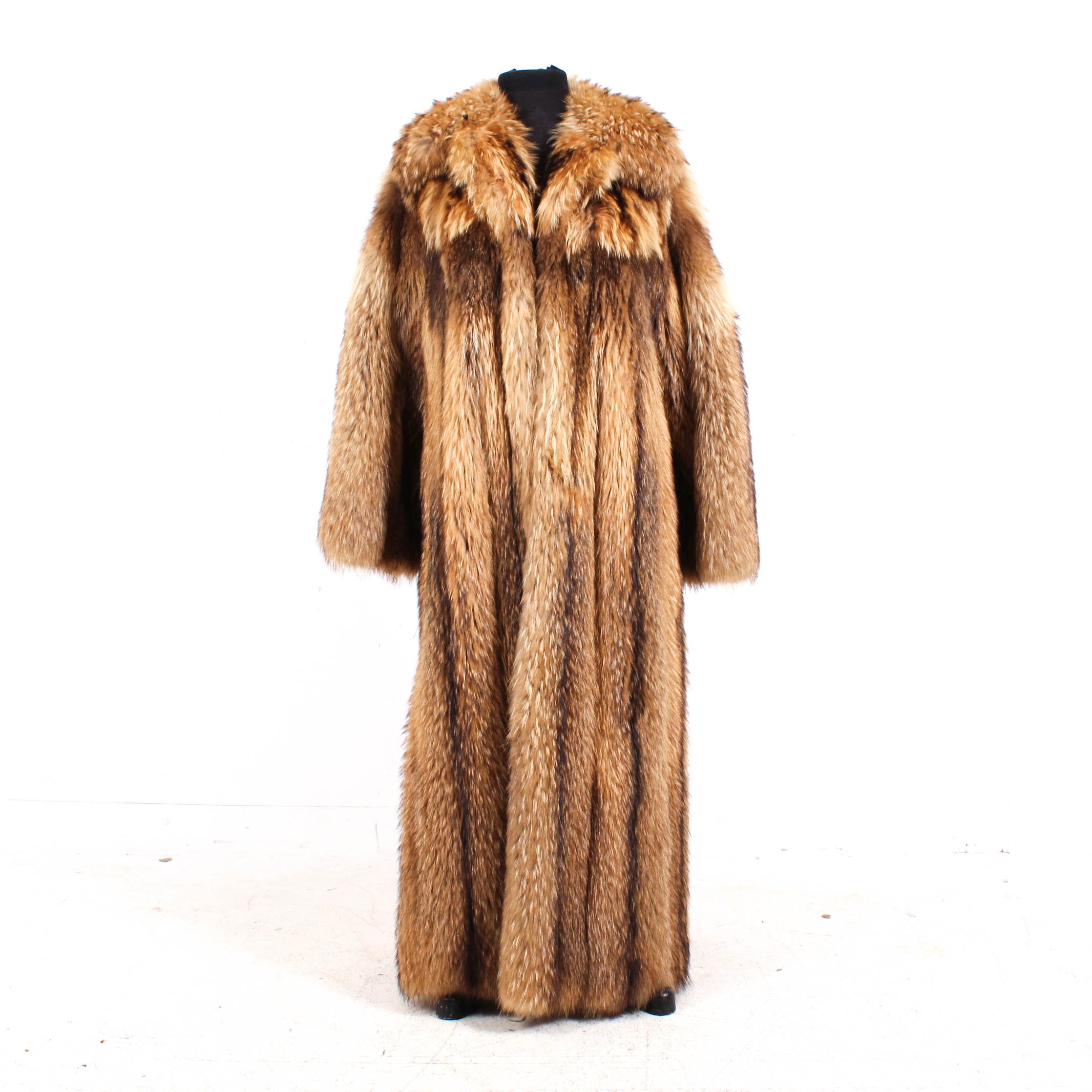 Vintage Geoffrey Beene for Montaldo's Coyote Fur Full-Length Coat
