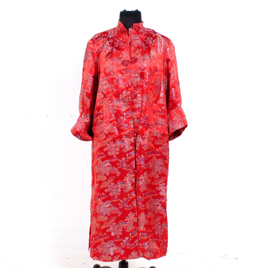 Vintage Peony Brand Chinese Red Rayon Brocade Robe ea0db97f8