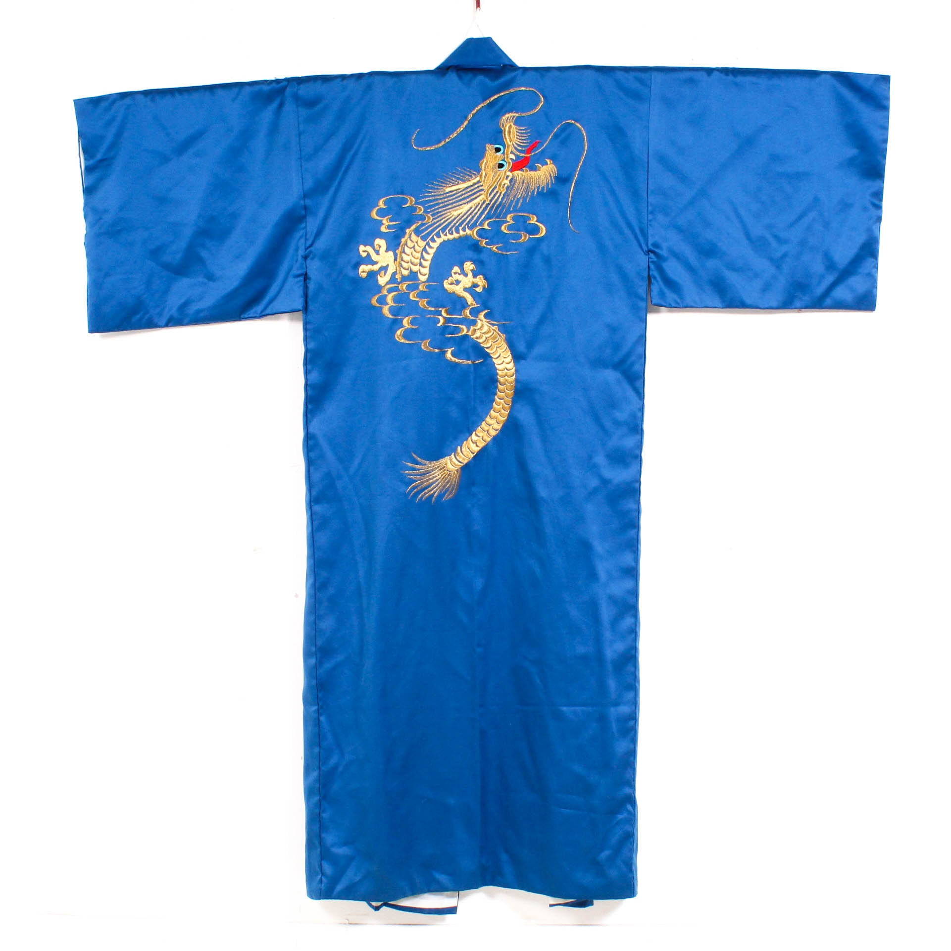 Vintage Embroidered Four-Clawed Dragon Blue Robe, Made in Japan