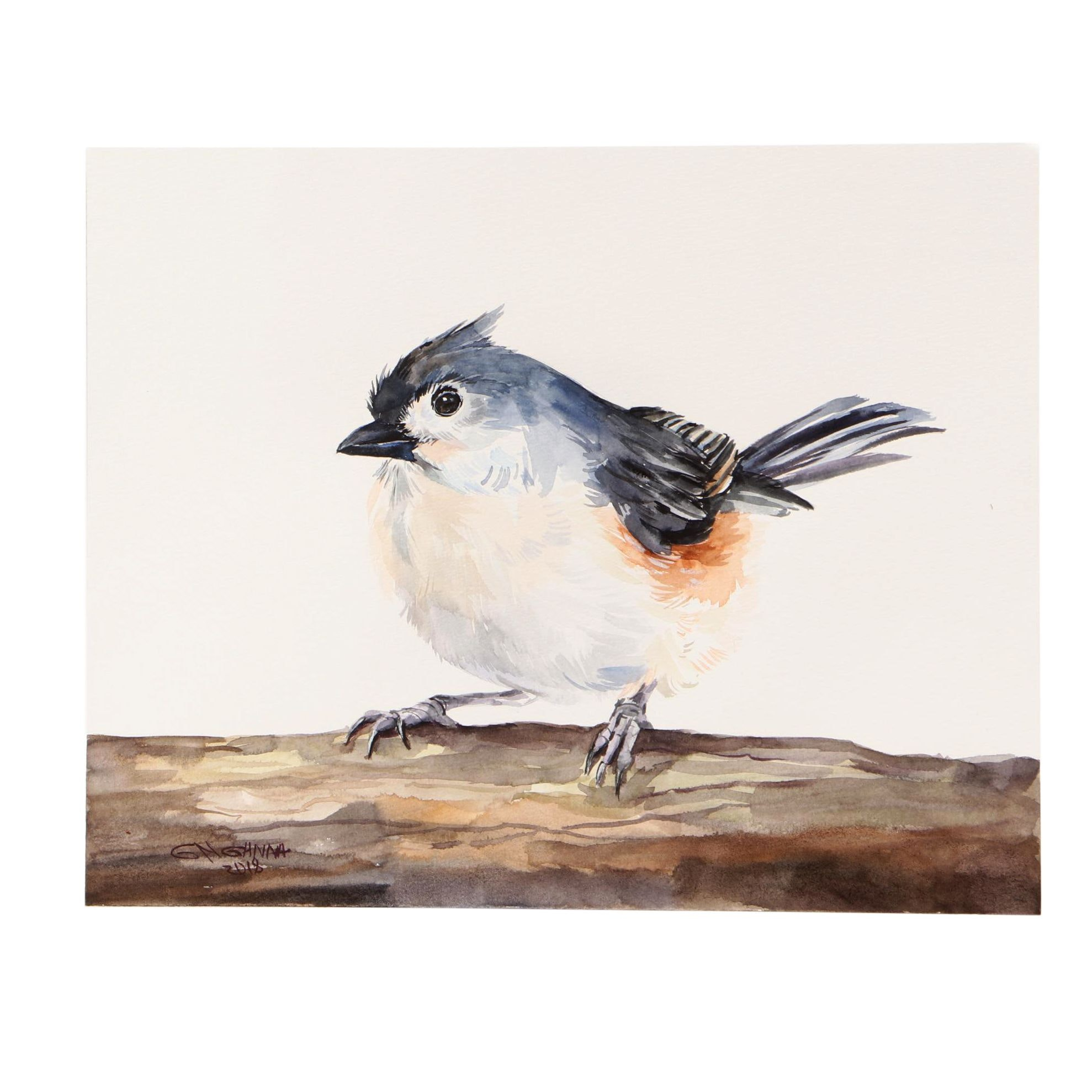 "Ganna Melnychenko 2018 Watercolor Painting ""Tufted Titmouse"""