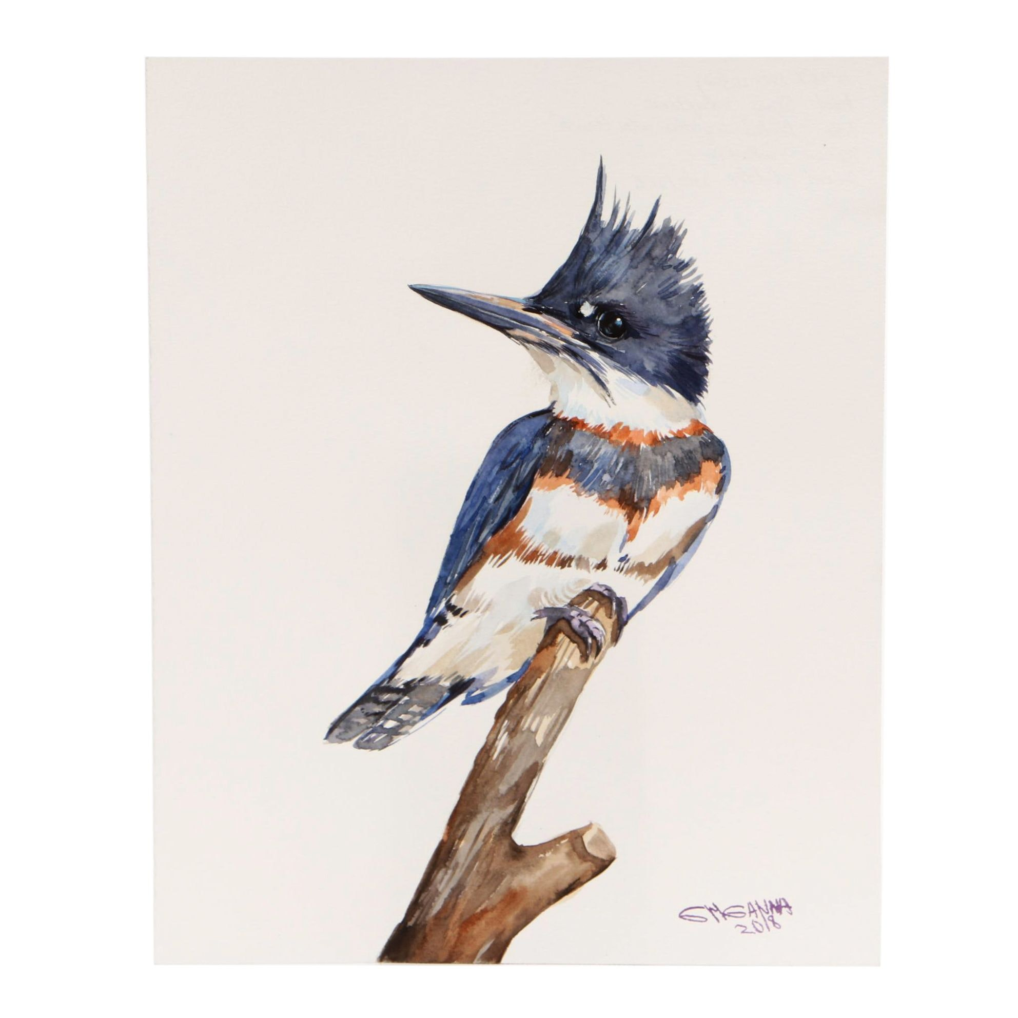 "Ganna Melnychenko 2018 Watercolor Painting ""Belted Kingfisher on the Branch"""