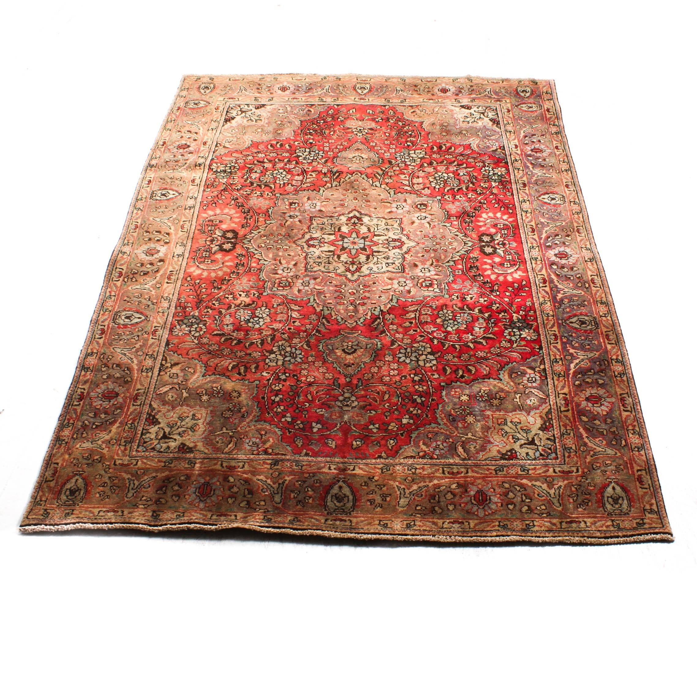 Hand-Knotted Persian Hajalili Tabriz Rug