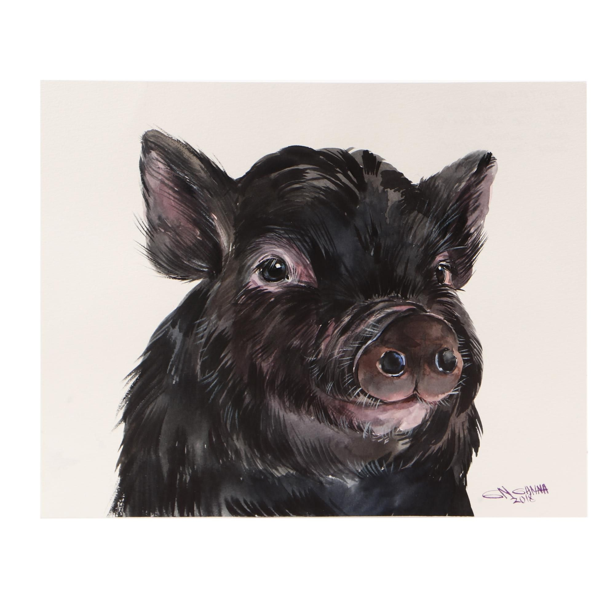 "Ganna Melnychenko 2018 Watercolor Painting ""Cute Little Black Piggy"""