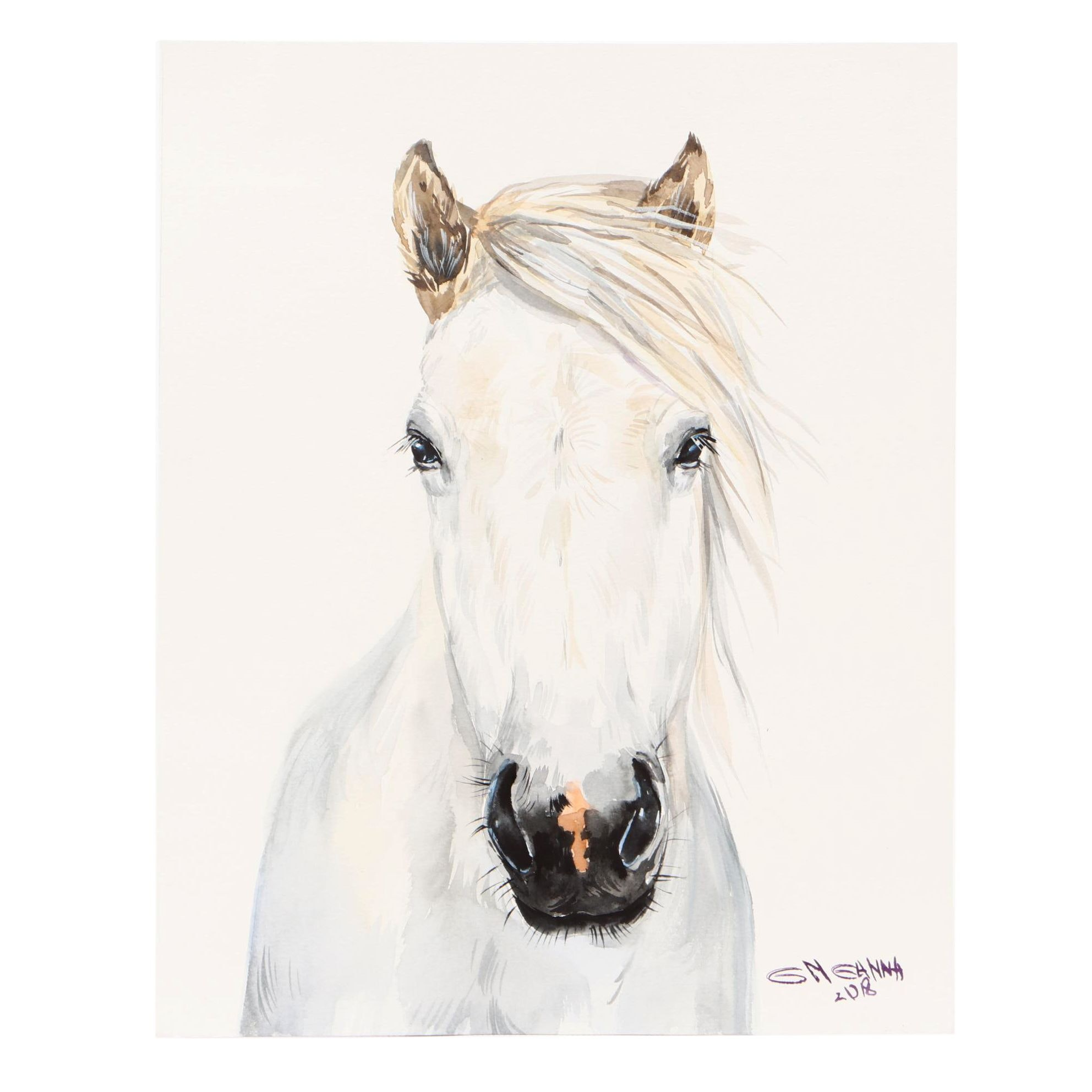 "Ganna Melnychenko 2018 Watercolor Painting ""White Horse Portrait"""