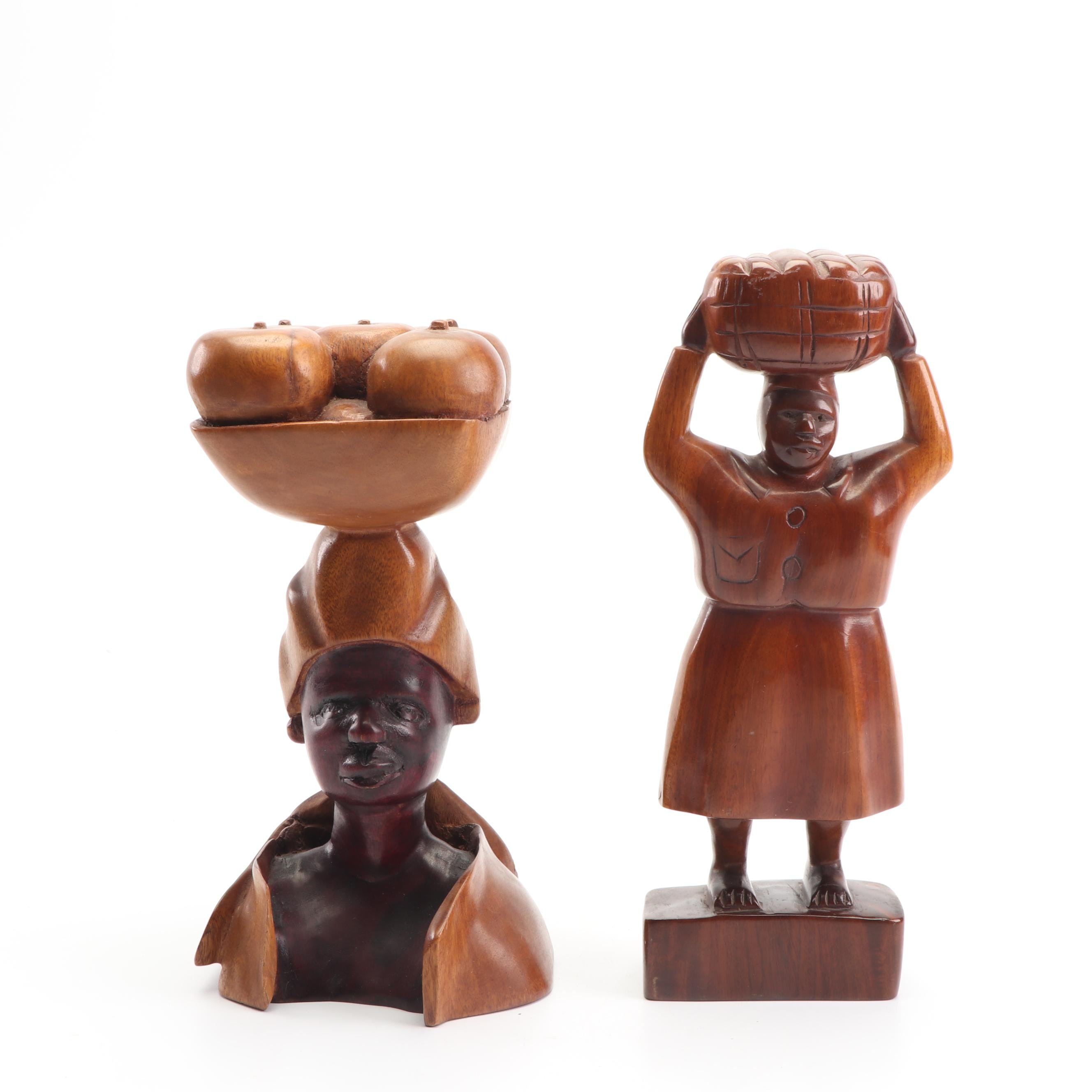 Haitian Carved Wood Figural Sculptures