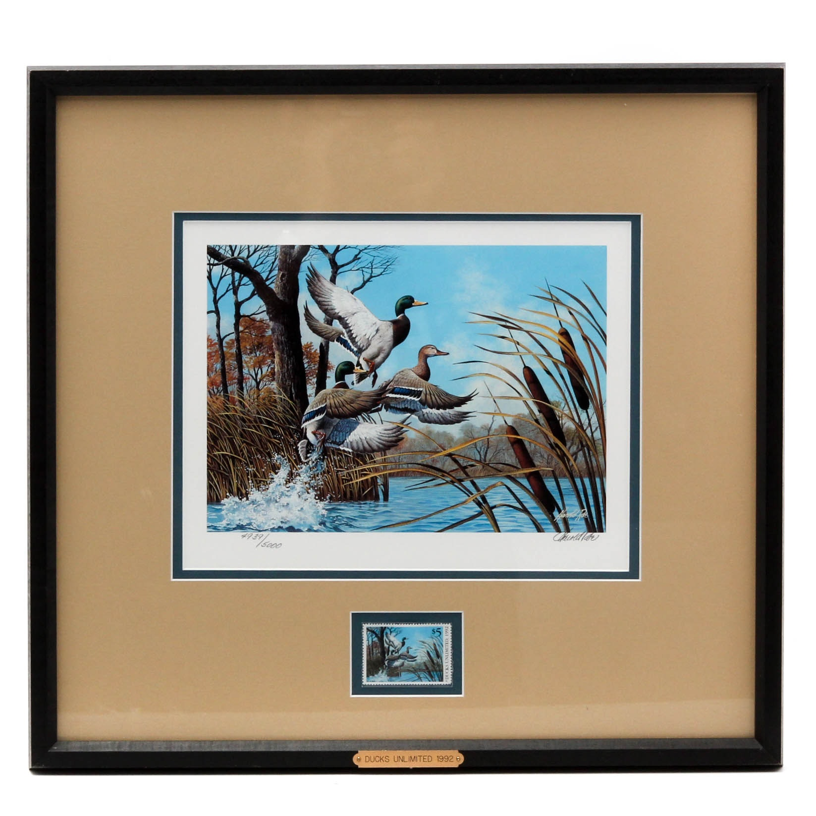 Harold Roe 1992 Ducks Unlimited $5 Stamp and Offset Lithograph