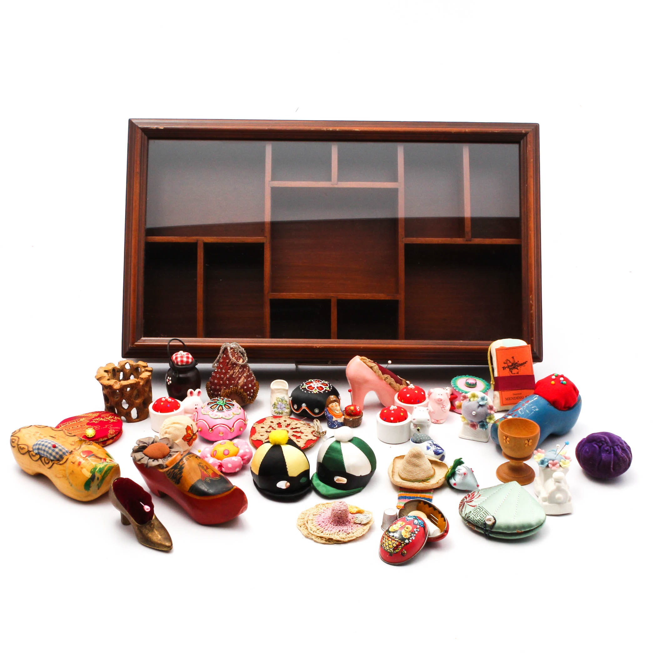 Sewing Collectibles and Display Case