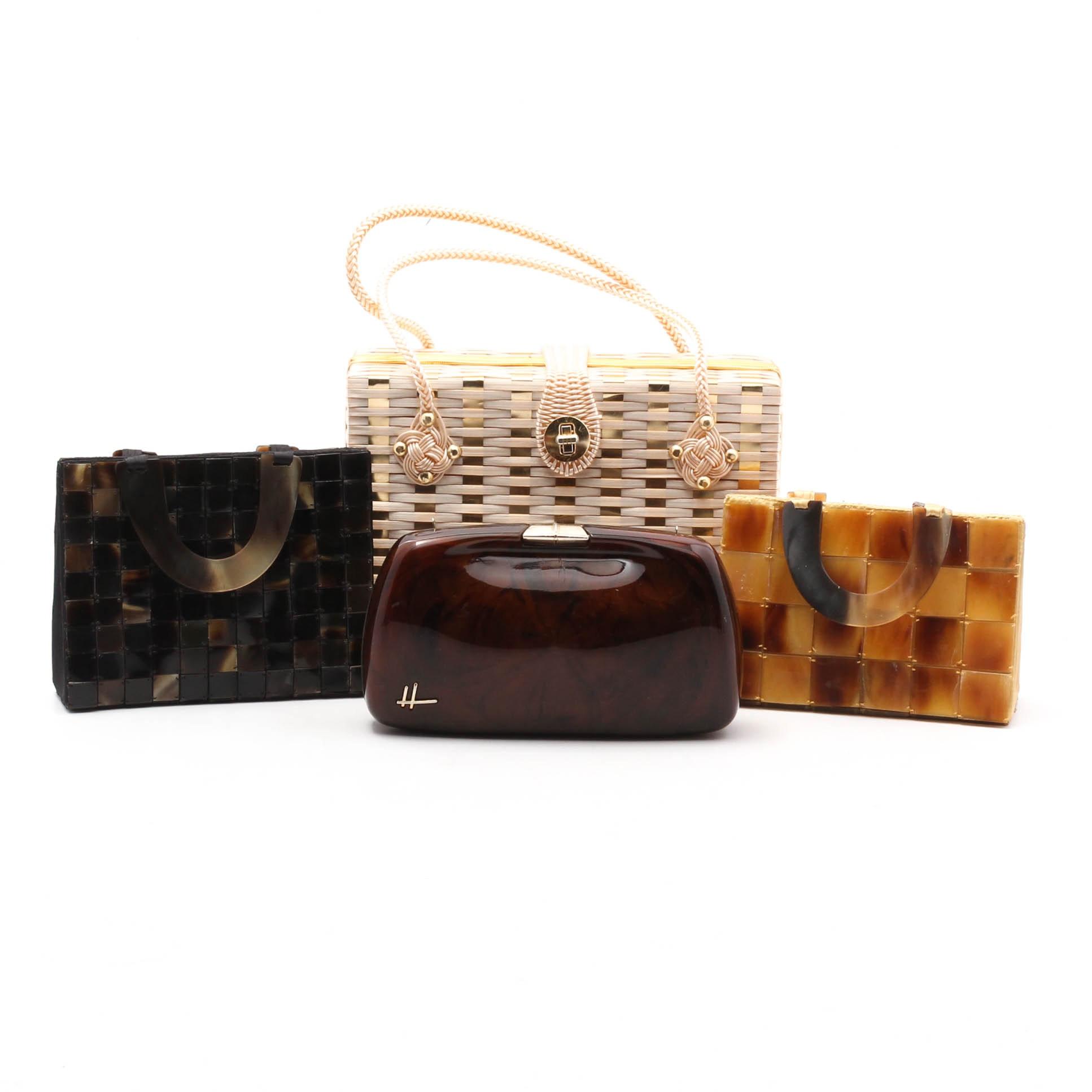 Four Vintage Handbags Including Woven Box Purse