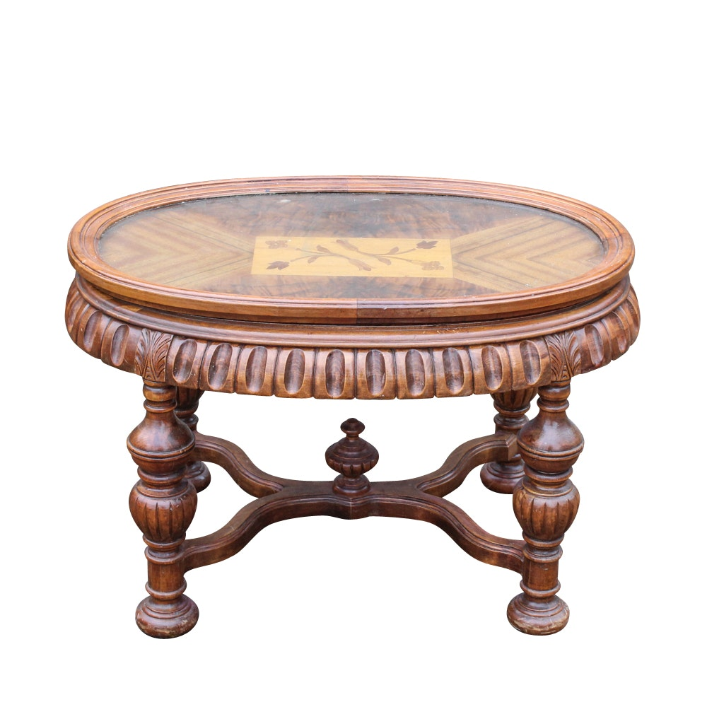 Vintage Marquetry Inlaid Oval Coffee Table