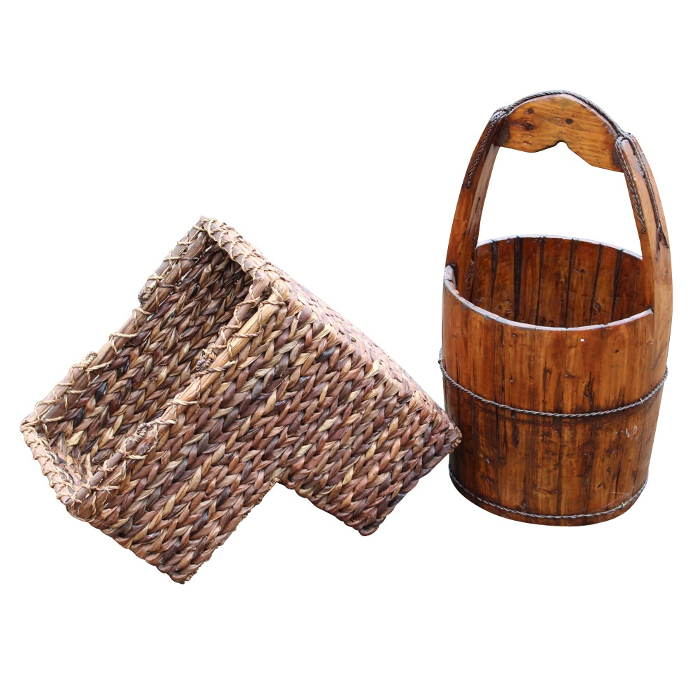 Woven Stair Basket and Wooden Bucket