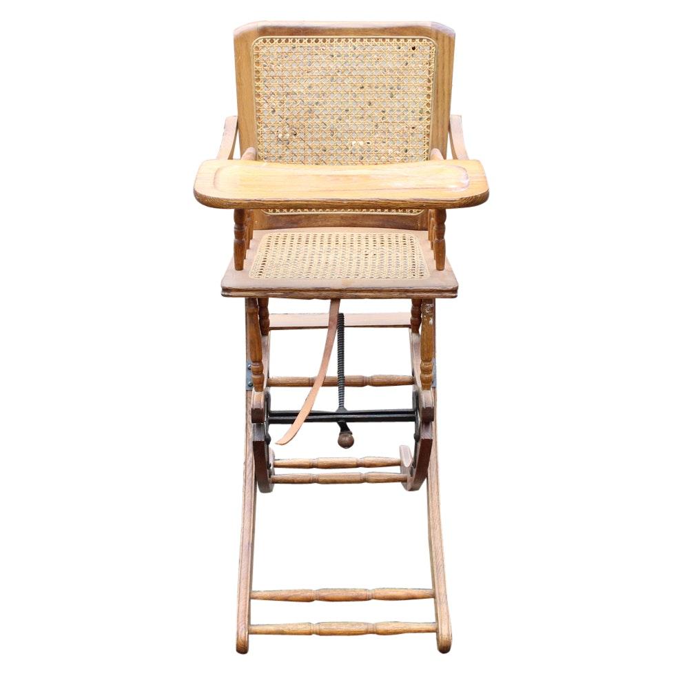 Antique Oak Cane Seat High Chair