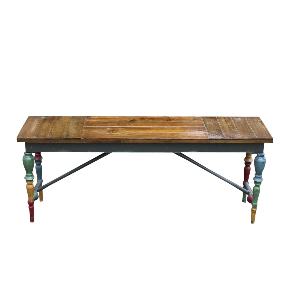 Painted Wooden Bench and Wall Shelf