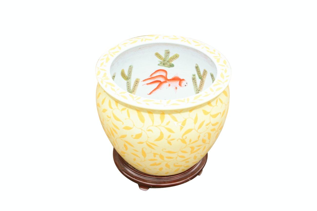 Chinese Ceramic Fishbowl Planter