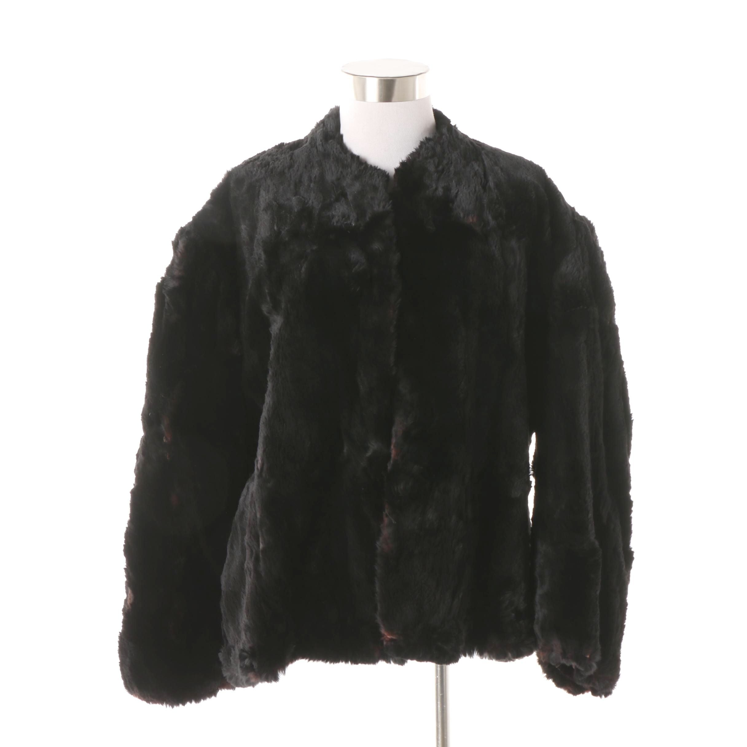 Vintage Dyed Black Sheared Beaver Fur Coat