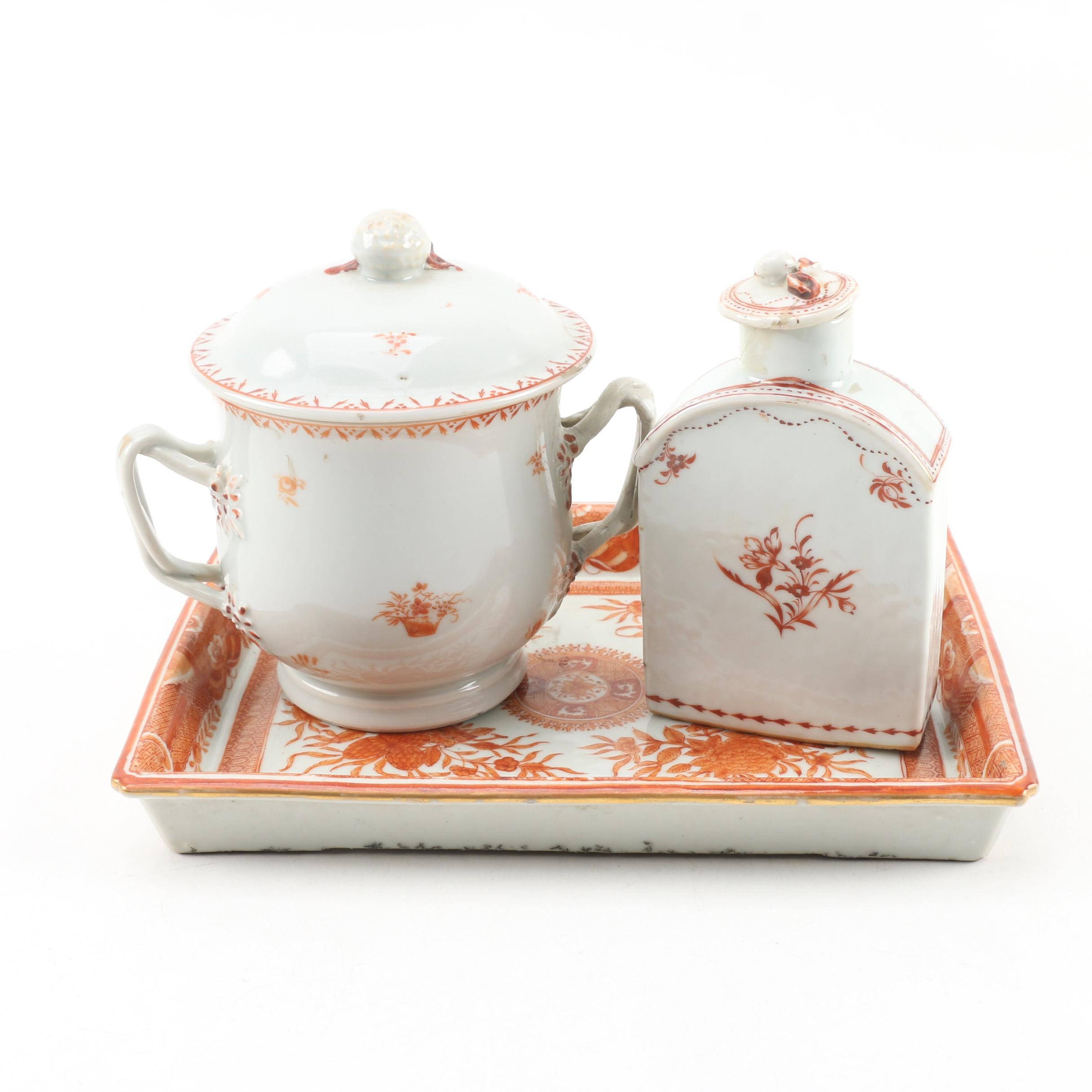 Chinese Export Ware Dish with Floral Sugar Bowl and Bottle